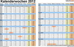 Vorlage 1: Kalenderwochen 2012 mit Monaten im Querformat als Excel-, Word- & PDF-Dateien