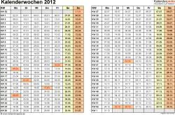 Vorlage 3: Kalenderwochen 2012 im Querformat als Excel-, Word- & PDF-Dateien