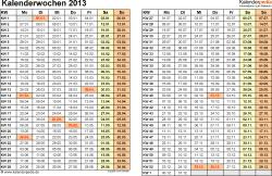 Vorlage 3: Kalenderwochen 2013 im Querformat als Excel-, Word- & PDF-Dateien