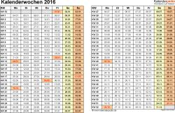 Vorlage 3: Kalenderwochen 2016 im Querformat als Excel-, Word- & PDF-Dateien