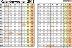 Vorlage 3: Kalenderwochen 2018 im Querformat als Excel-, Word- & PDF-Dateien