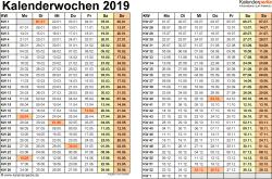 Vorlage 3: Kalenderwochen 2019 im Querformat als Excel-, Word- & PDF-Dateien