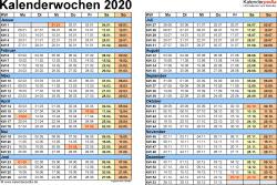 Vorlage 1: Kalenderwochen 2020 mit Monaten im Querformat als Excel-, Word- & PDF-Dateien