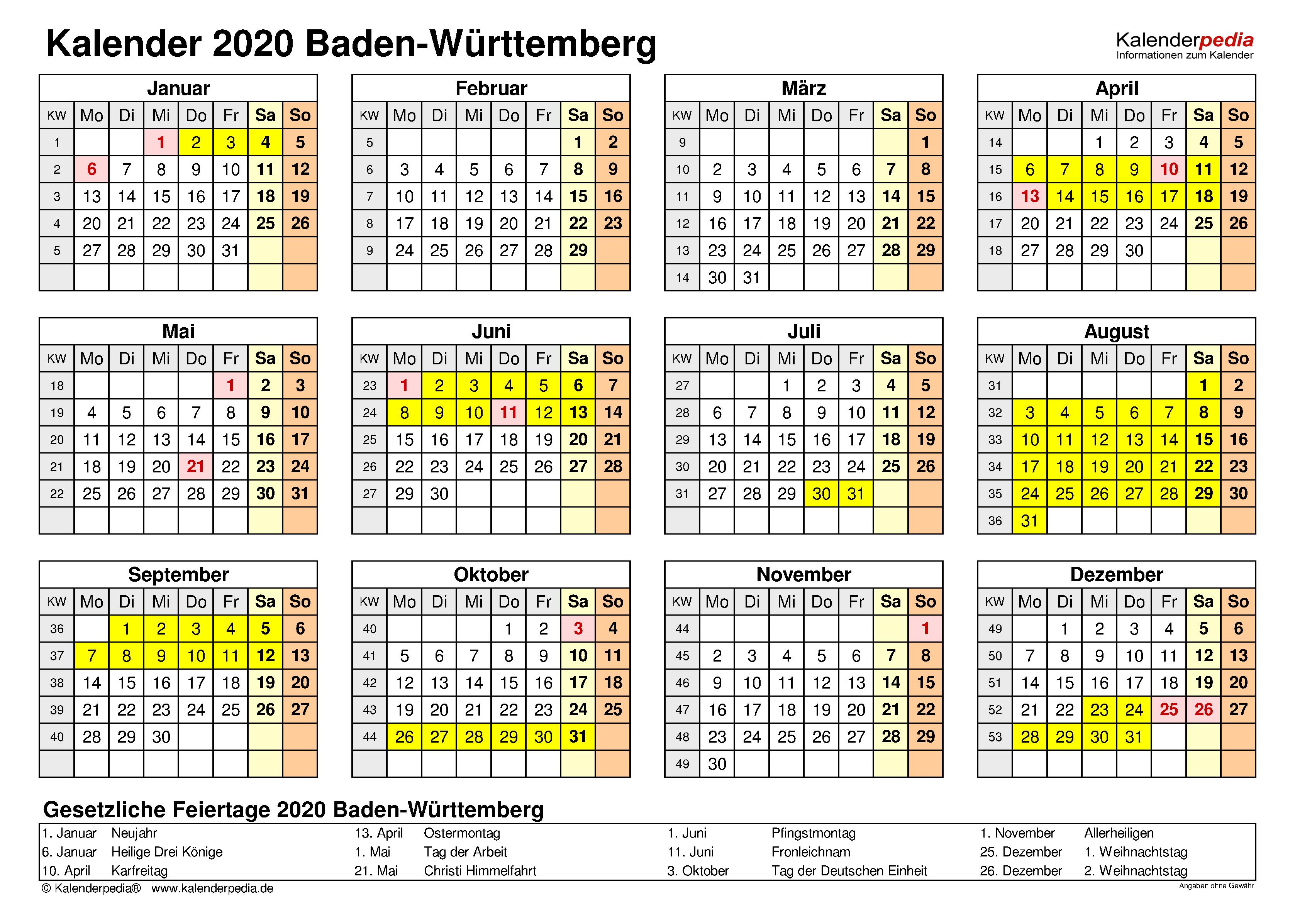 2020 Feiertage Bw