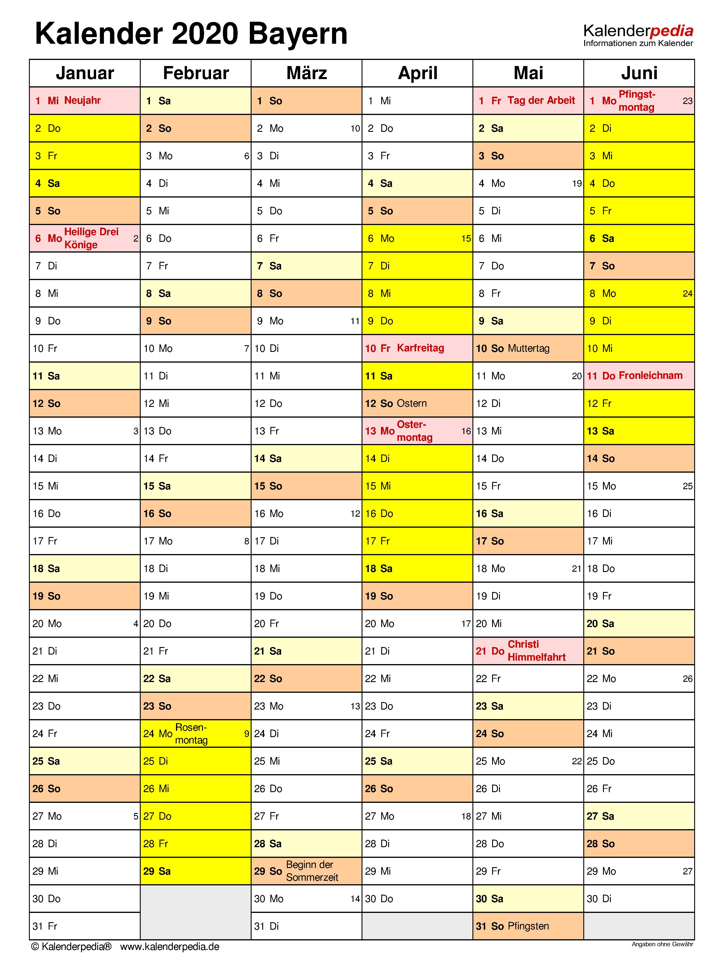 kalender 2020 bayern zum ausdrucken