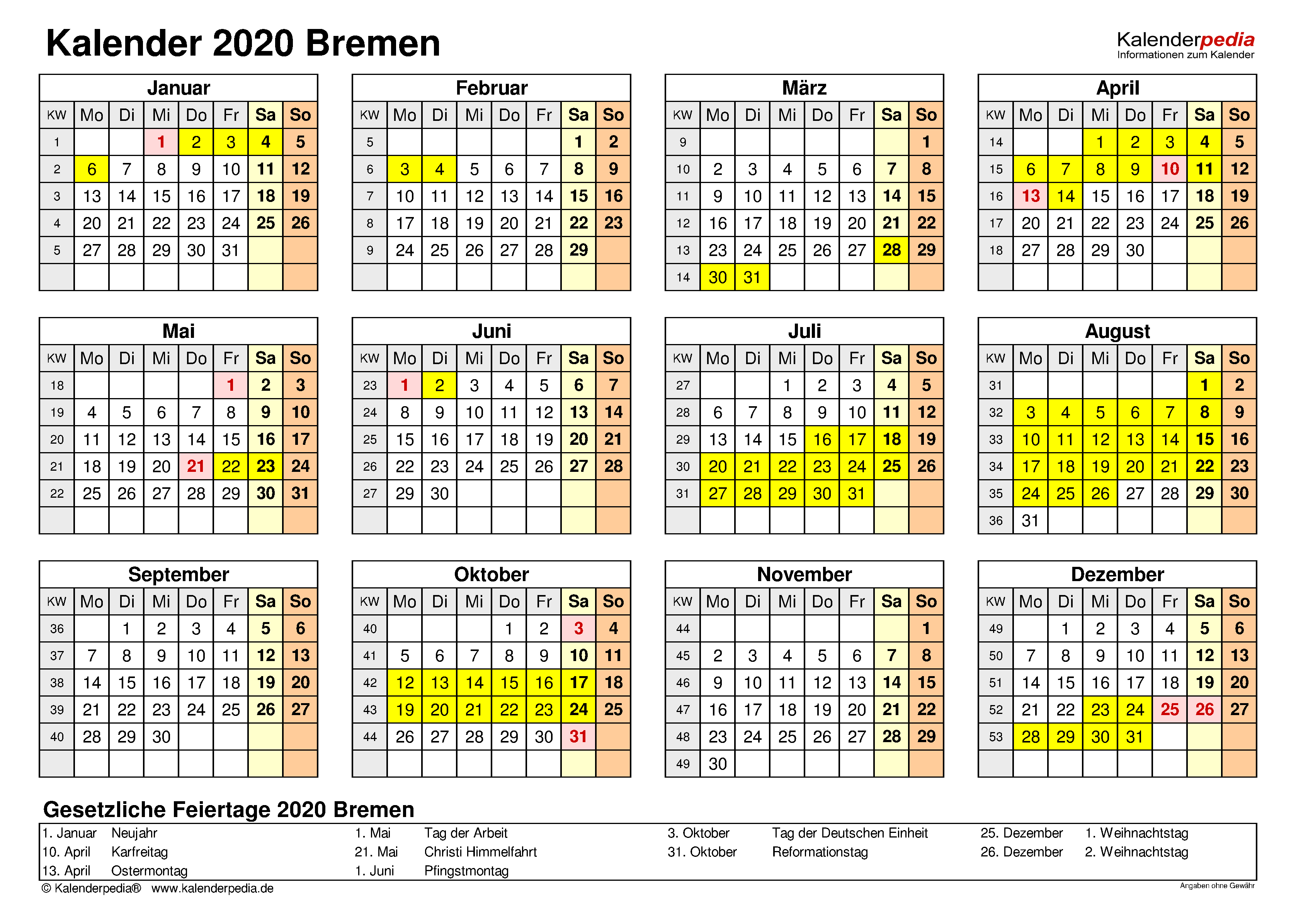 Kalender 2020 Bremen: Ferien, Feiertage, PDF-Vorlagen