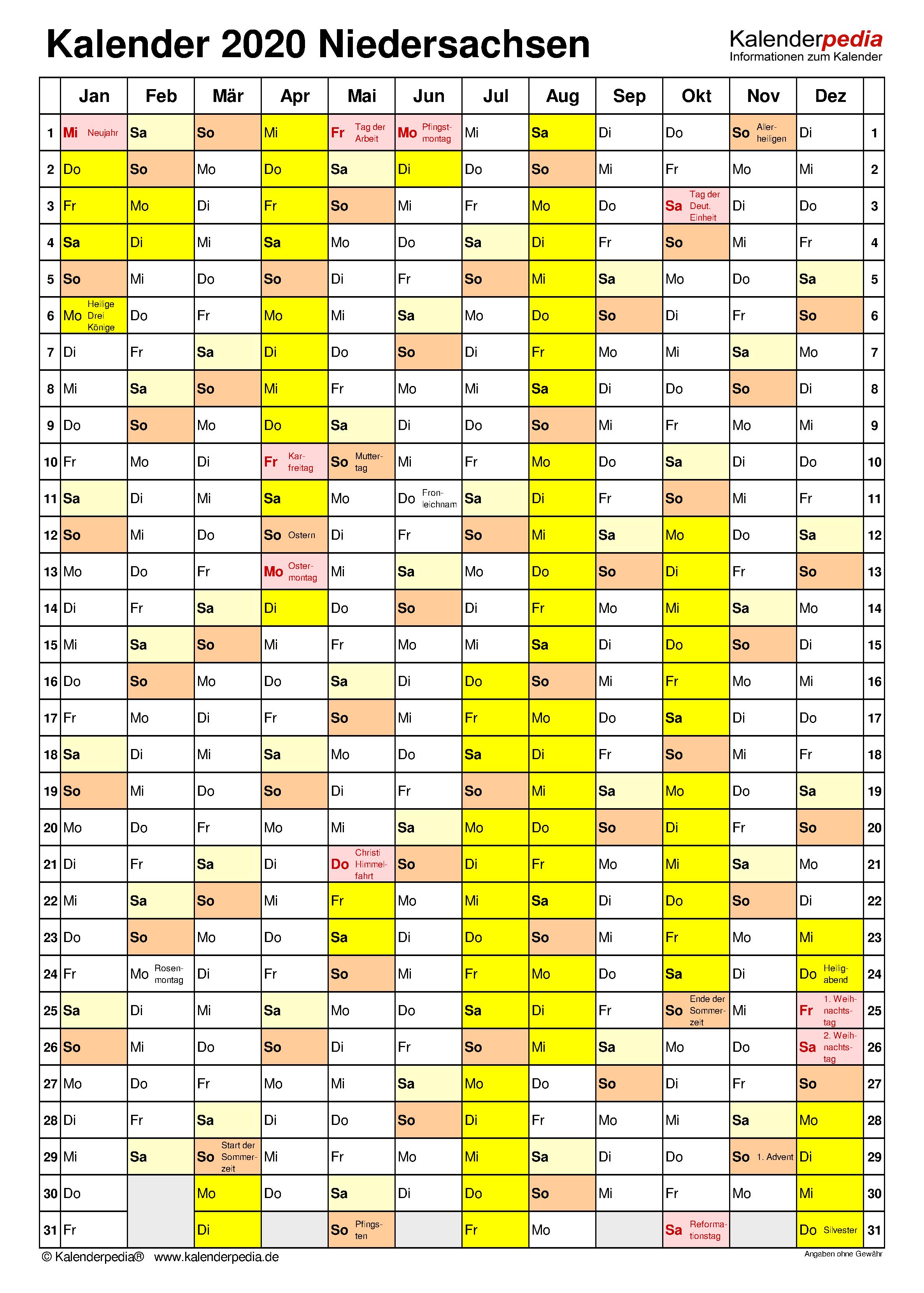 Kalender 2020 Mit Ferien Niedersachsen Ferienkalender