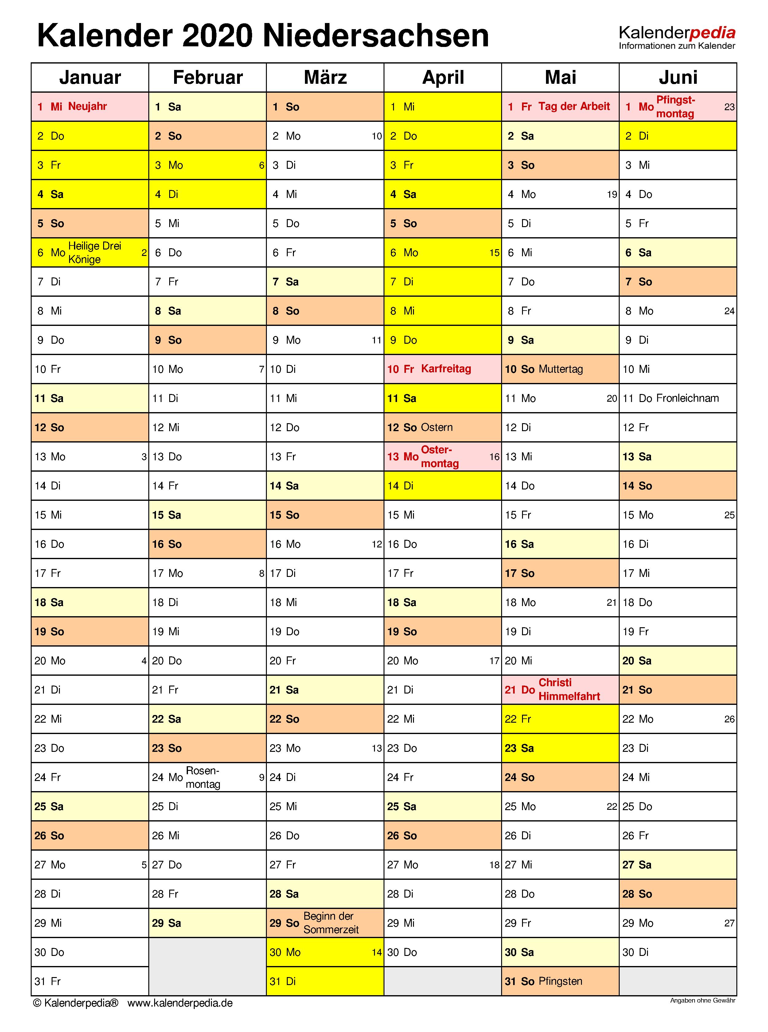 Kalender 2020 Niedersachsen Ferien Feiertage Pdf Vorlagen