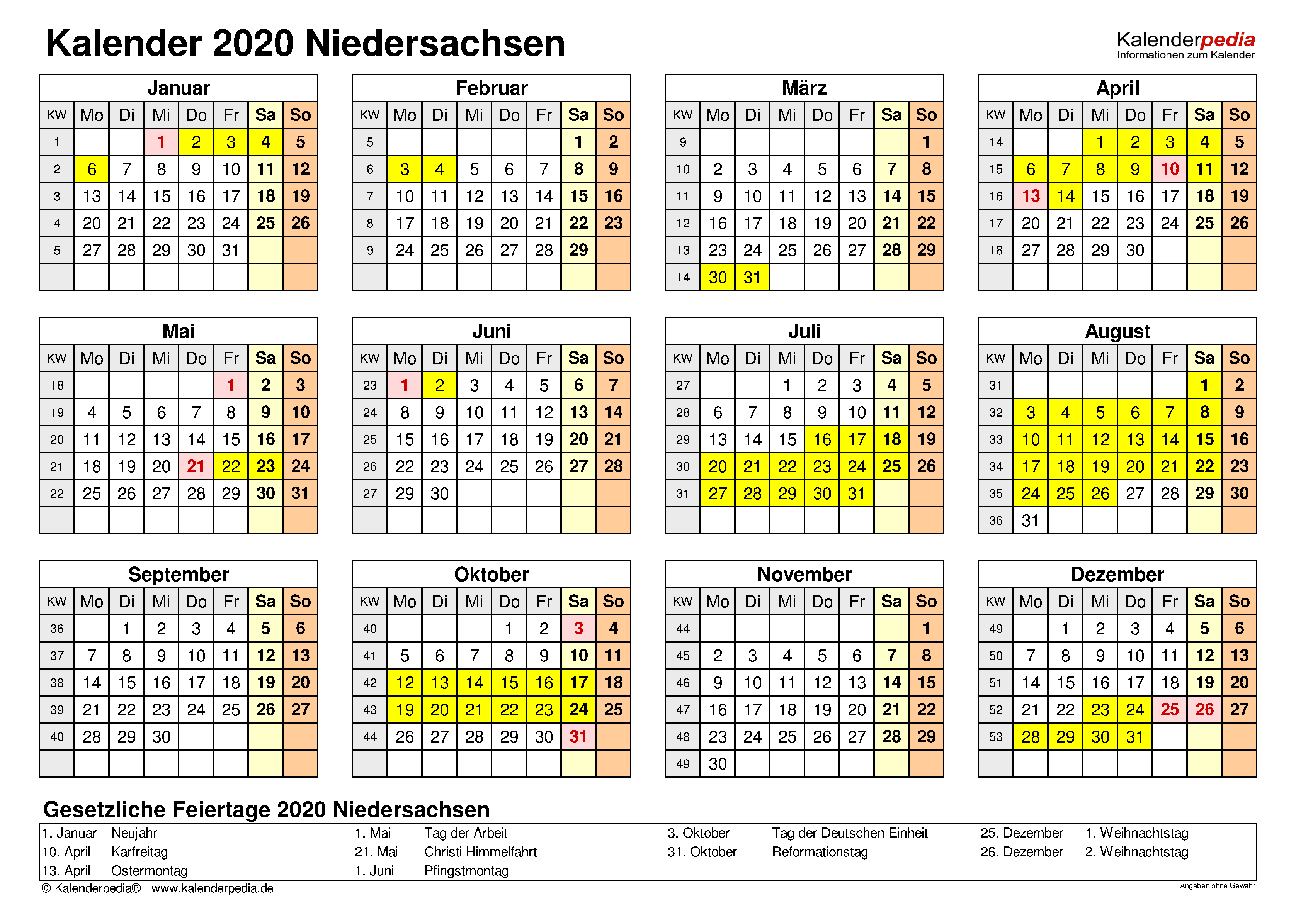 kalender 2020 excel niedersachsen