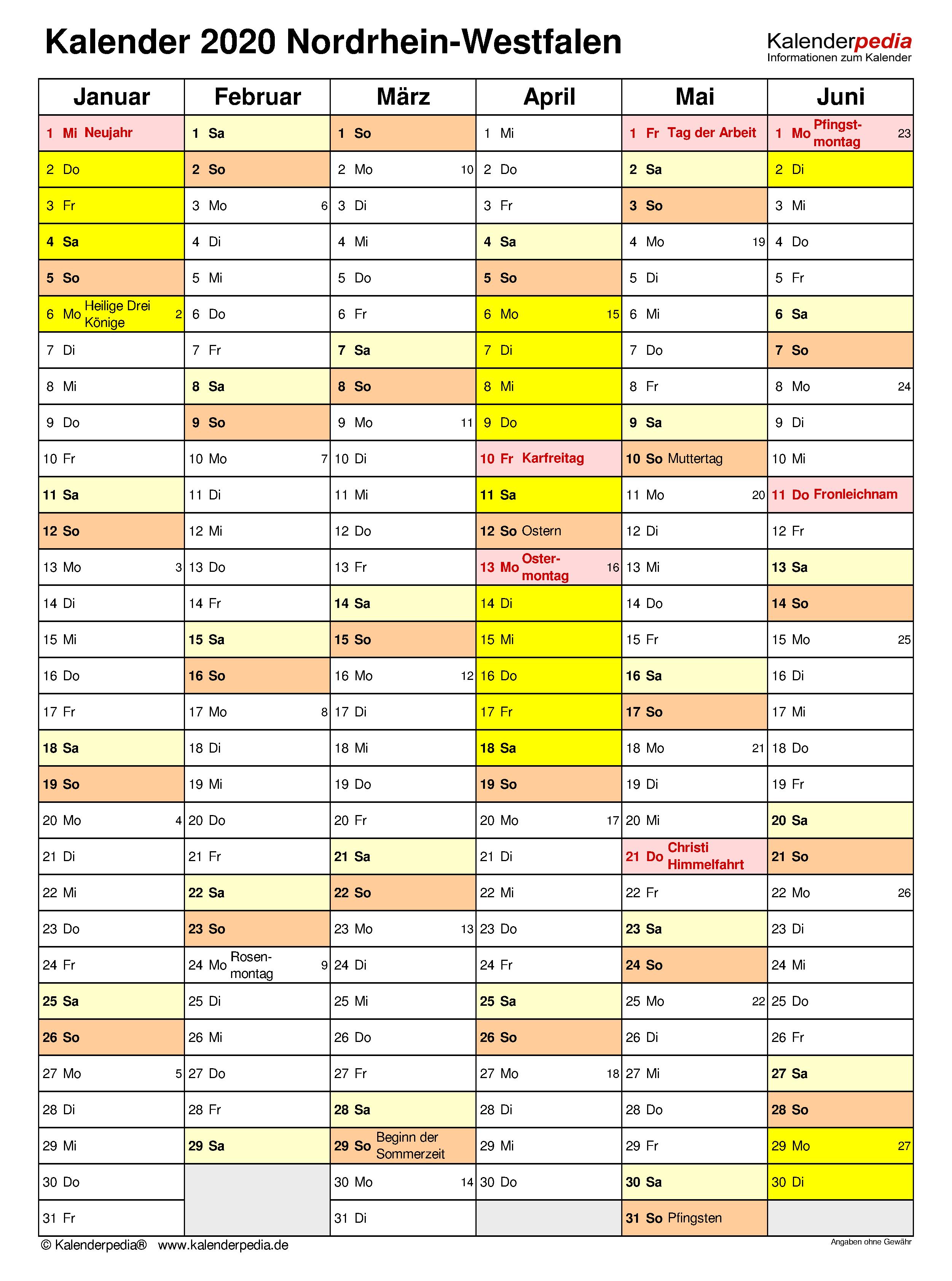 kalender zum ausdrucken 2020 nrw