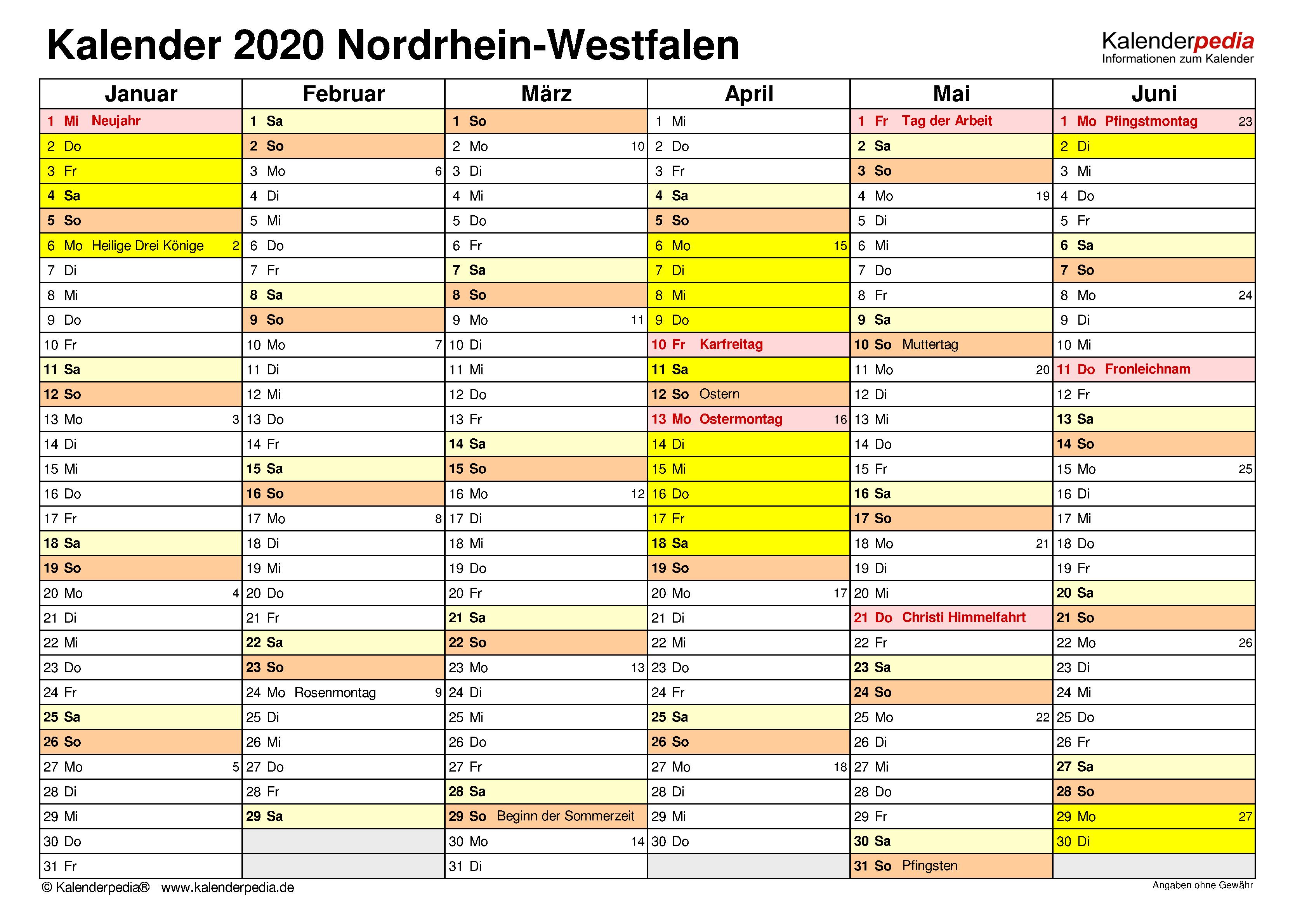 Kalender 2020 Nrw Ferien Feiertage Excel Vorlagen