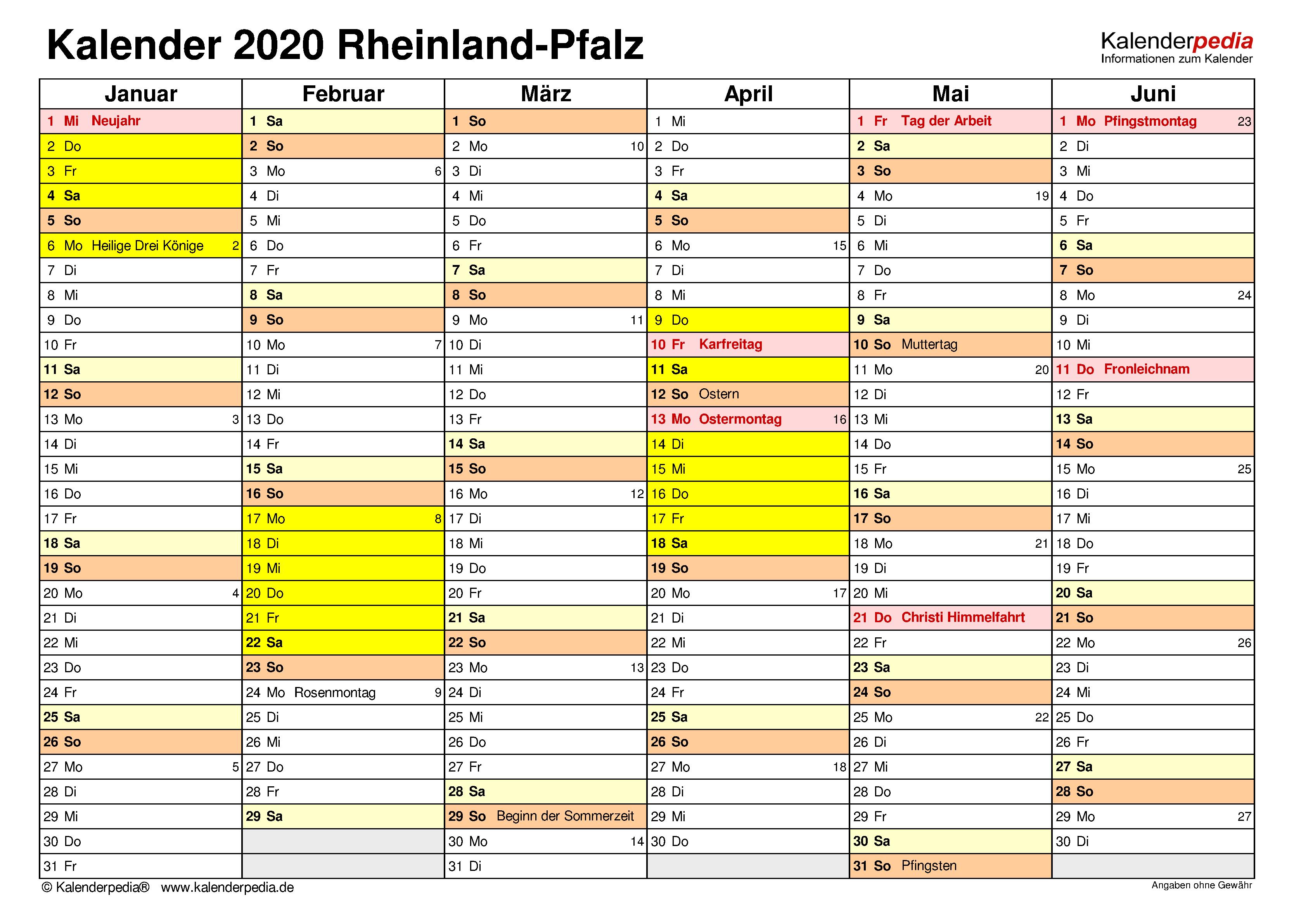 Kalender 2020 Rheinland-Pfalz: Ferien, Feiertage, Excel ...