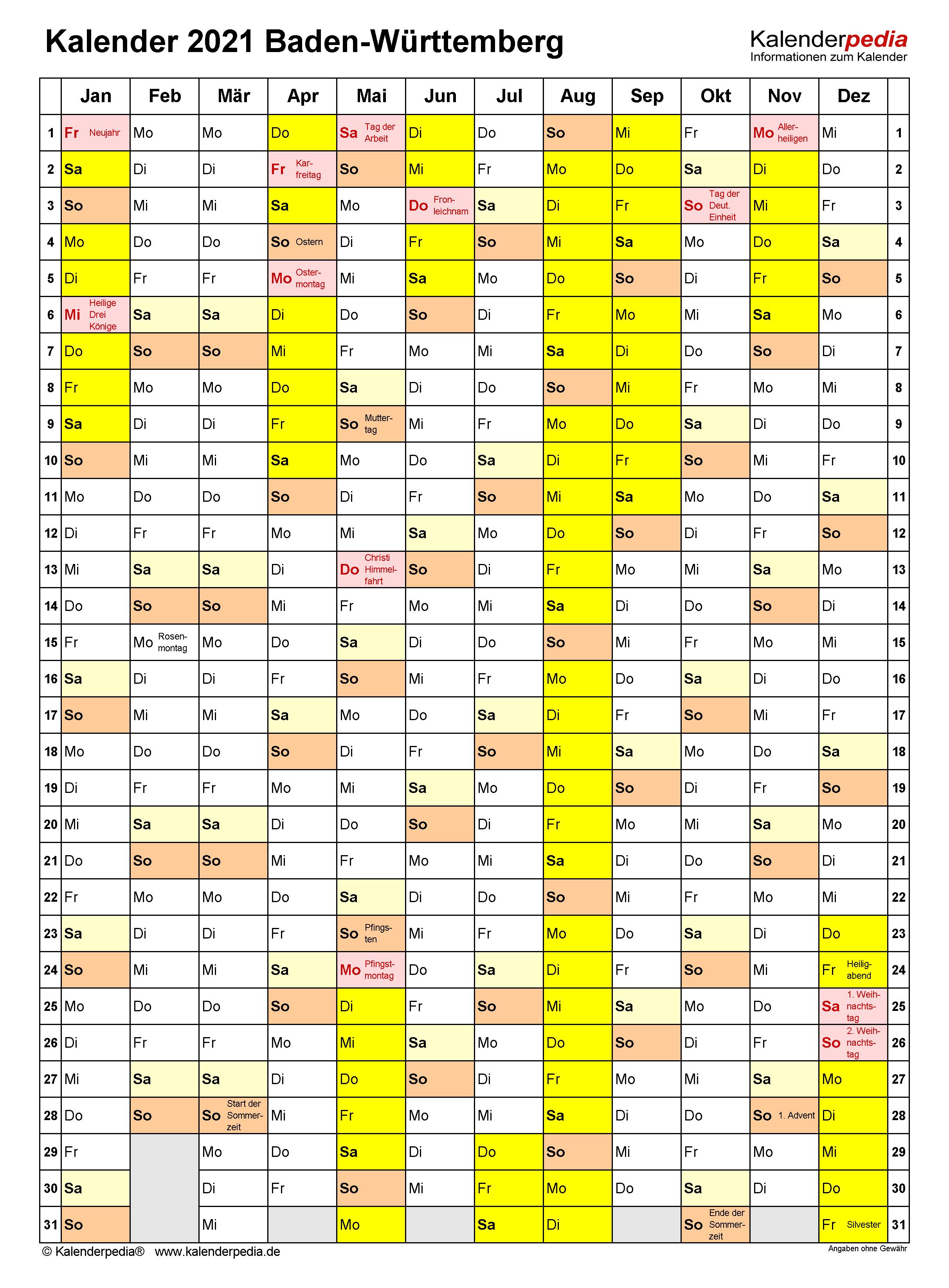 Kalender 2021 Baden Wurttemberg Ferien Feiertage Excel Vorlagen