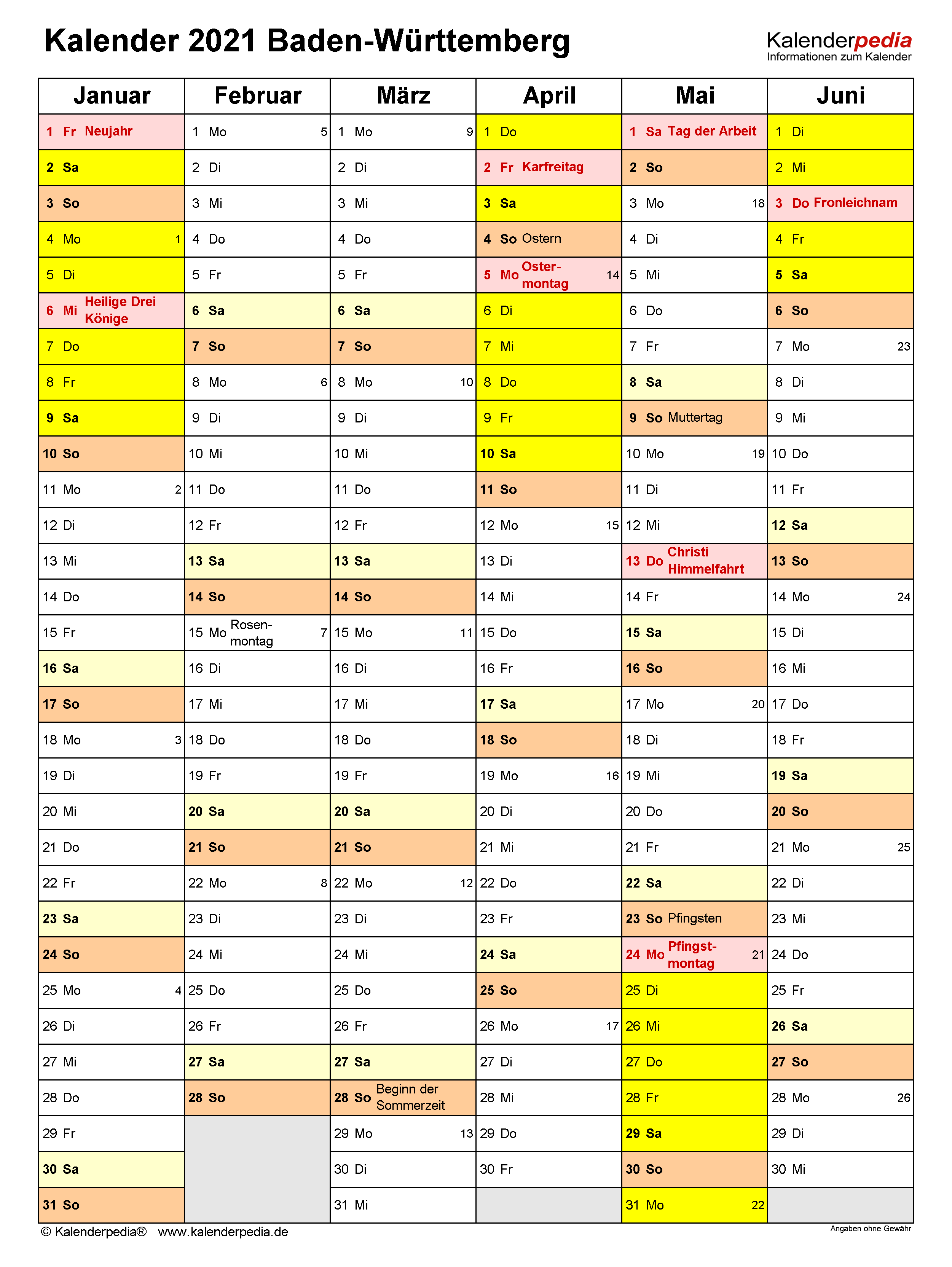 Kalender 2021 Baden-Württemberg: Ferien, Feiertage, PDF ...