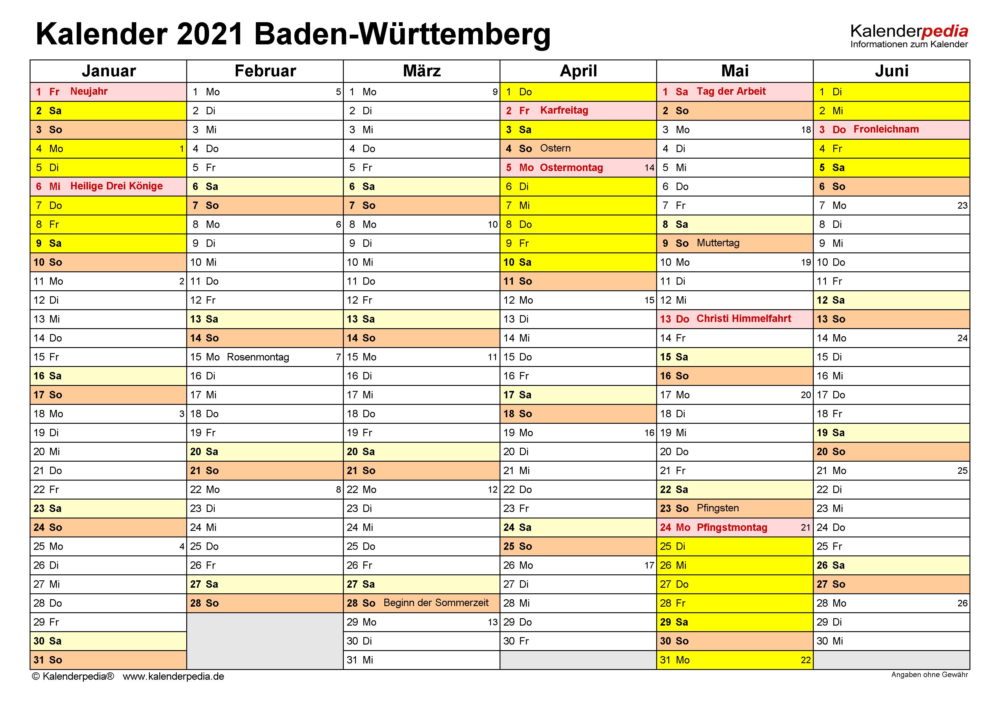 Kalender 2021 Baden Württemberg: Ferien, Feiertage, Excel Vorlagen