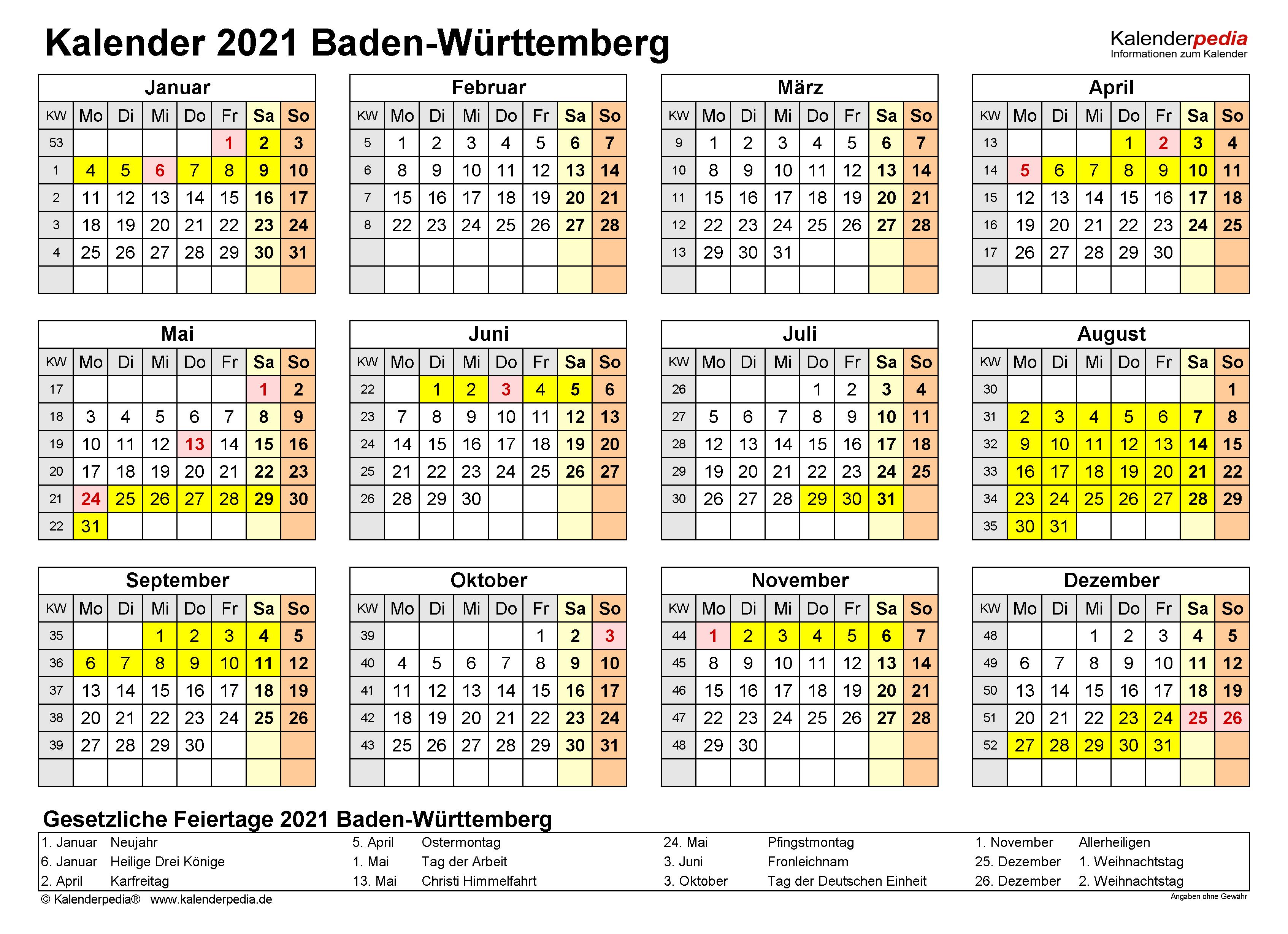Kalender Baden Württemberg 2021