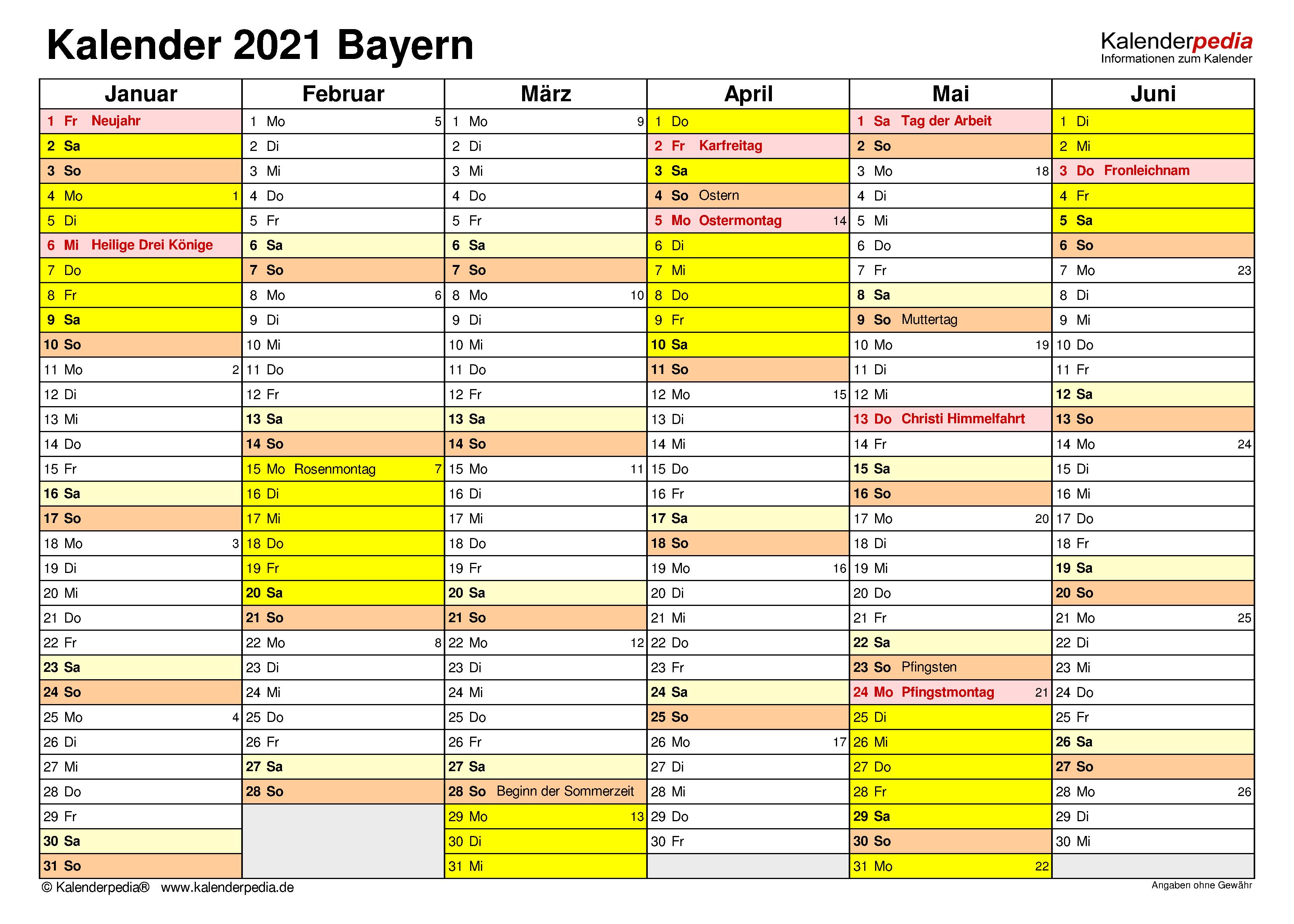 Bayern Kalender 2021