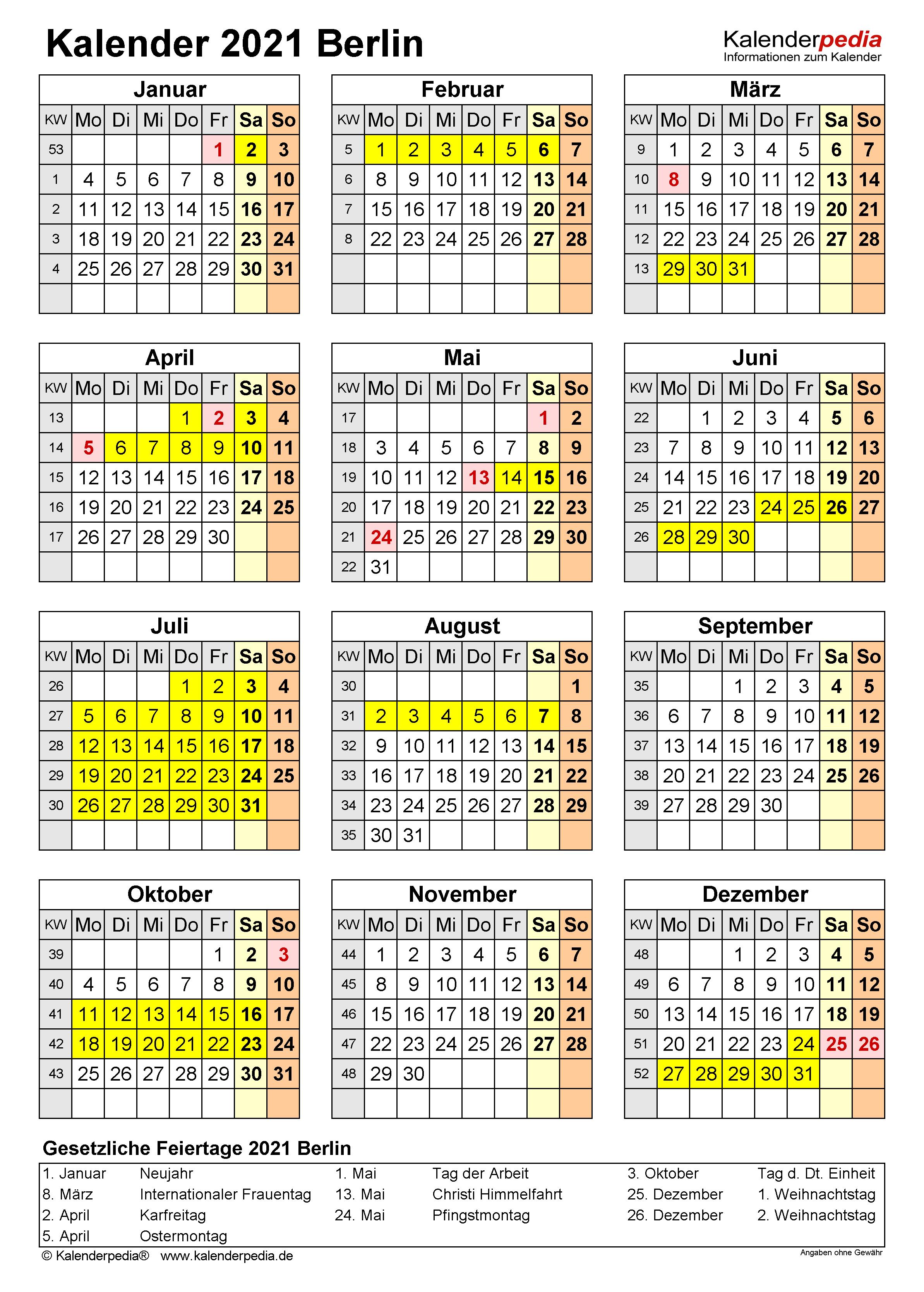 Kalender 2021 Berlin: Ferien, Feiertage, PDF-Vorlagen