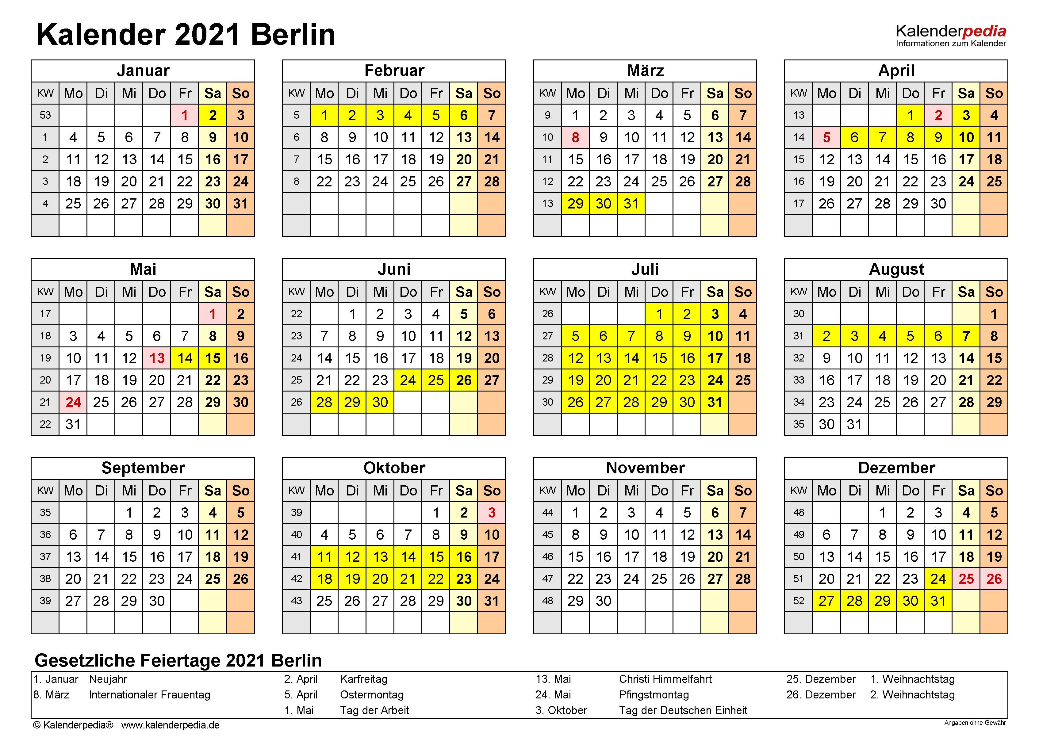Kalender 2021 Mit Feiertagen Und Ferien Berlin