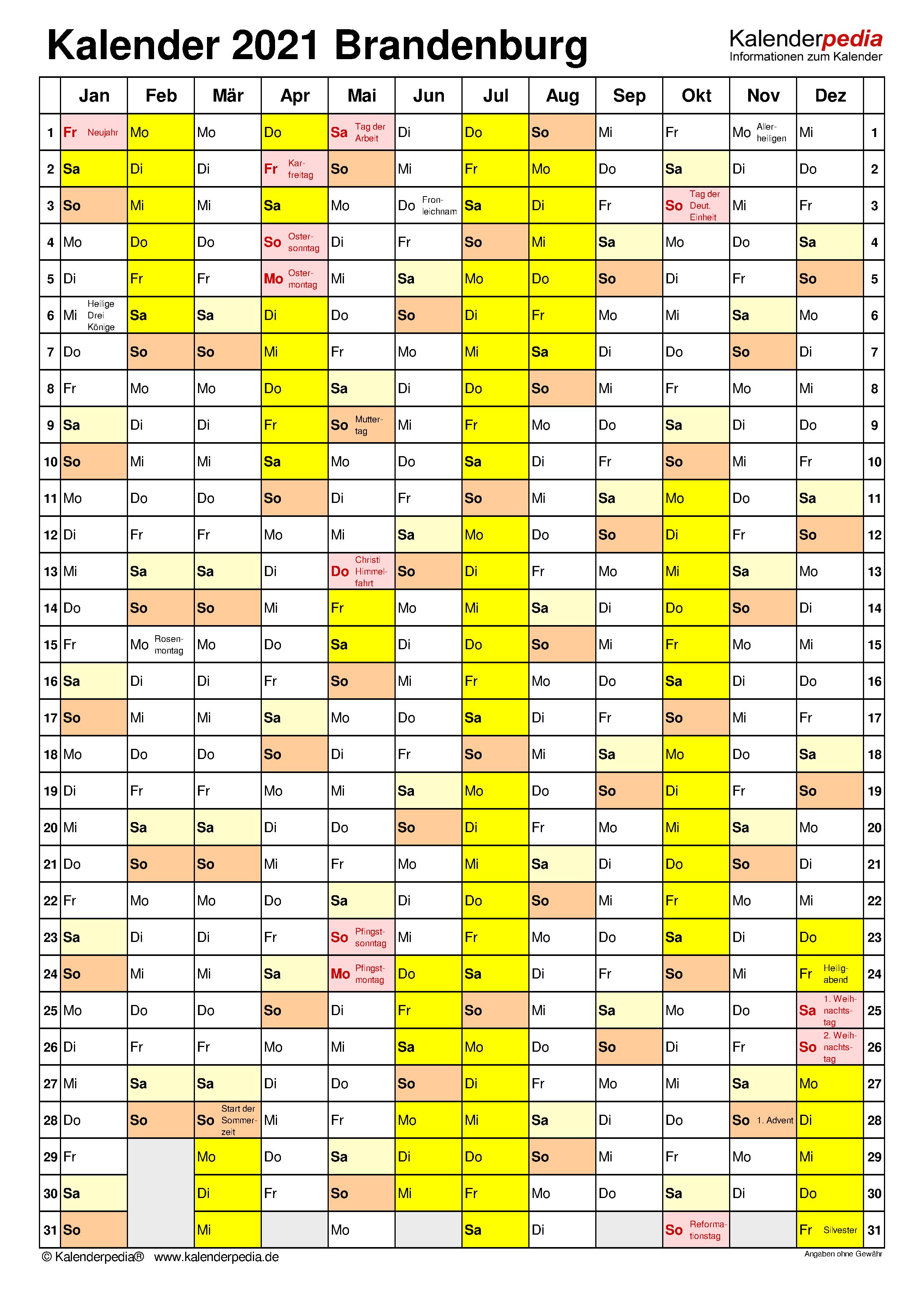 Kalender 2021 Brandenburg: Ferien, Feiertage, Excel-Vorlagen