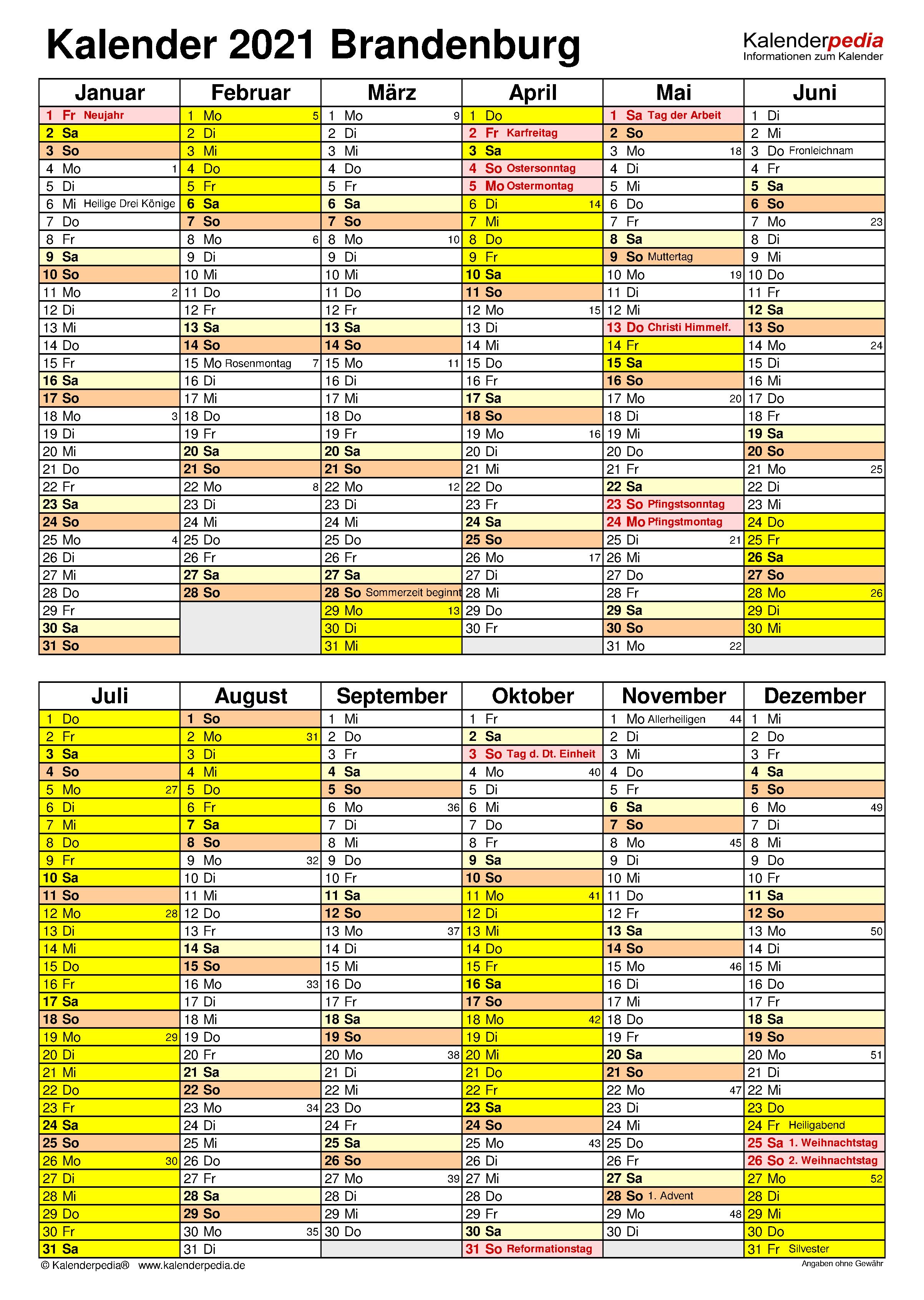 Kalender 2021 Brandenburg: Ferien, Feiertage, Word-Vorlagen