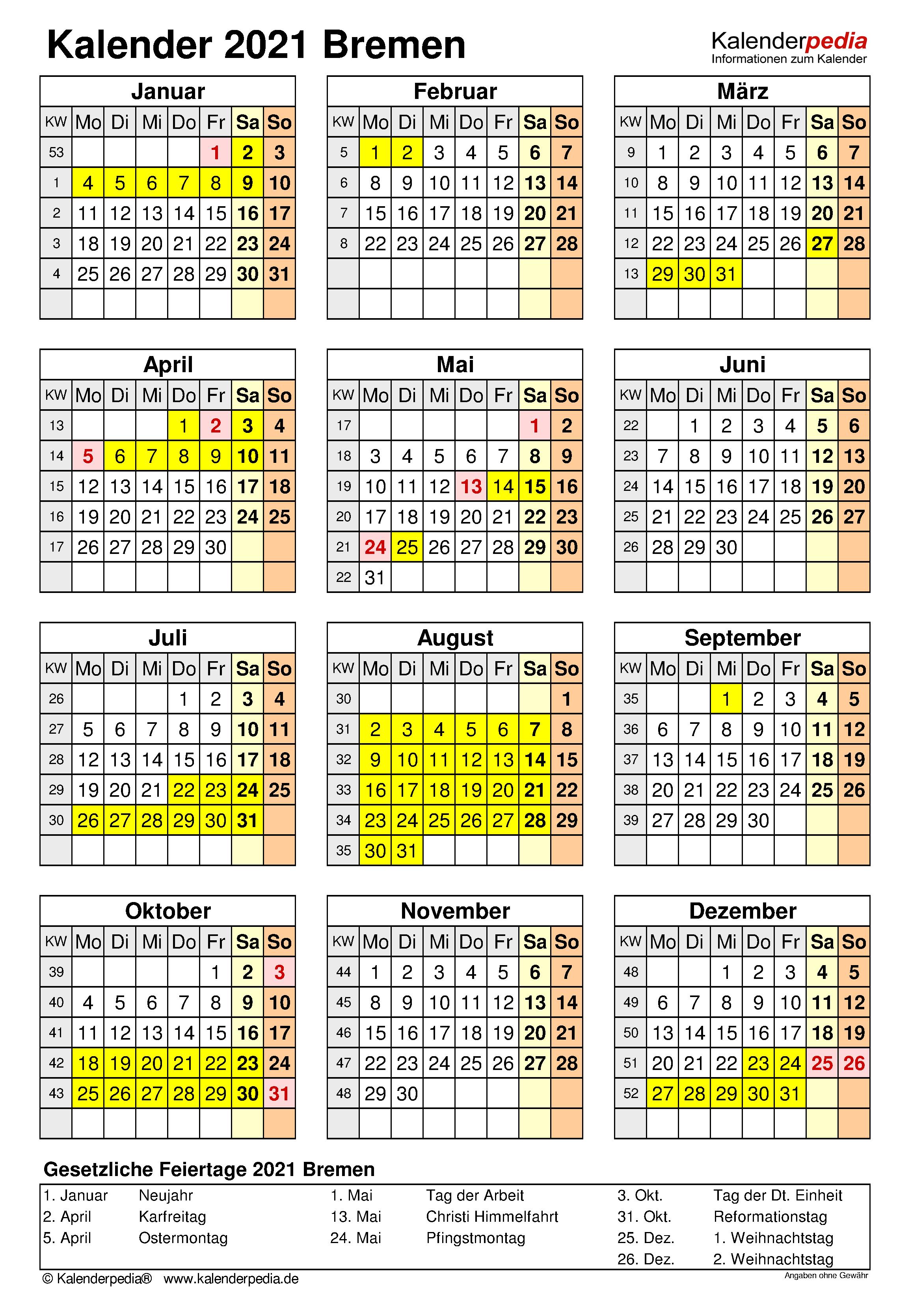 Kalender 2021 Bremen: Ferien, Feiertage, Excel-Vorlagen