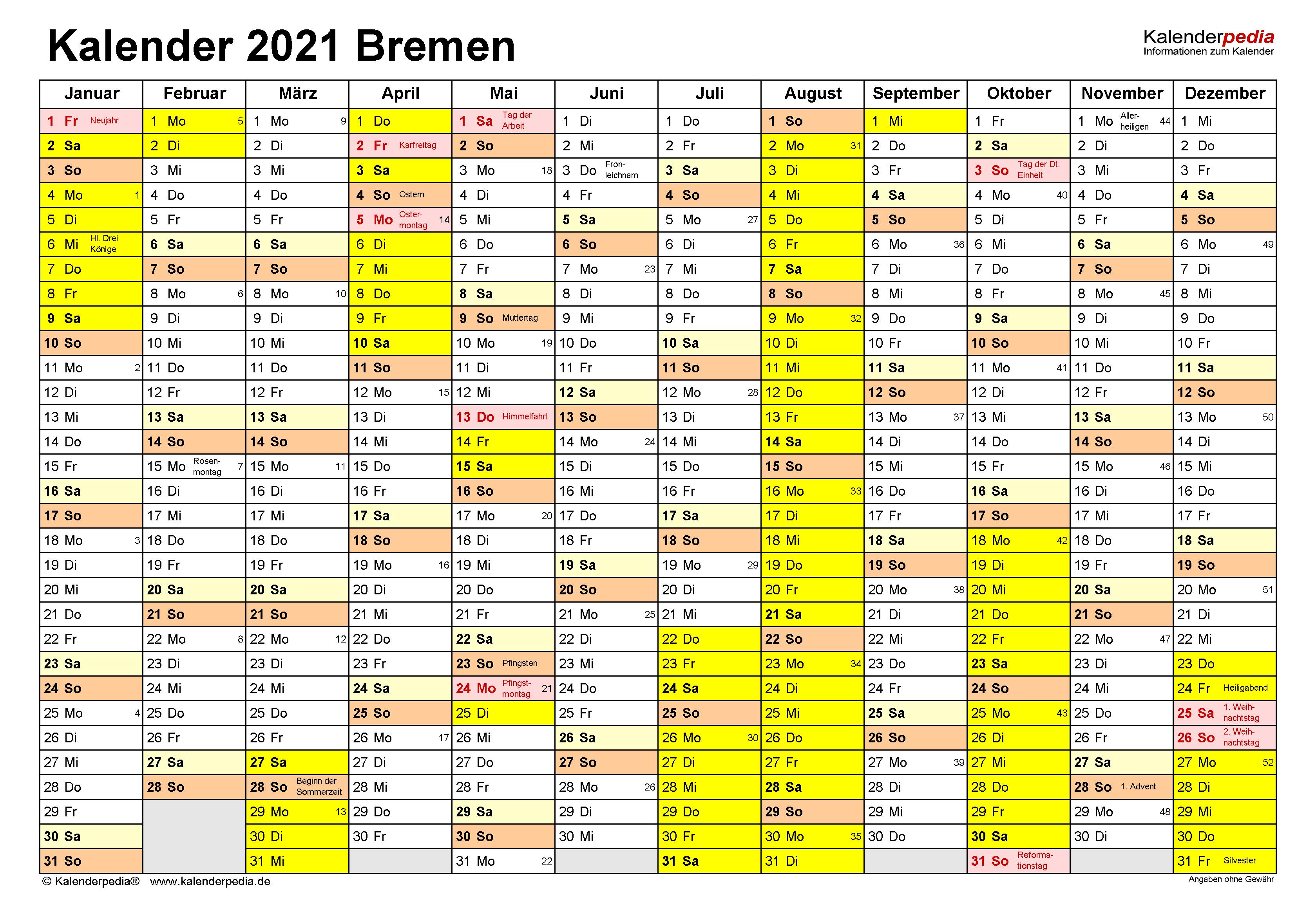 Kalender 2021 Bremen: Ferien, Feiertage, PDF-Vorlagen