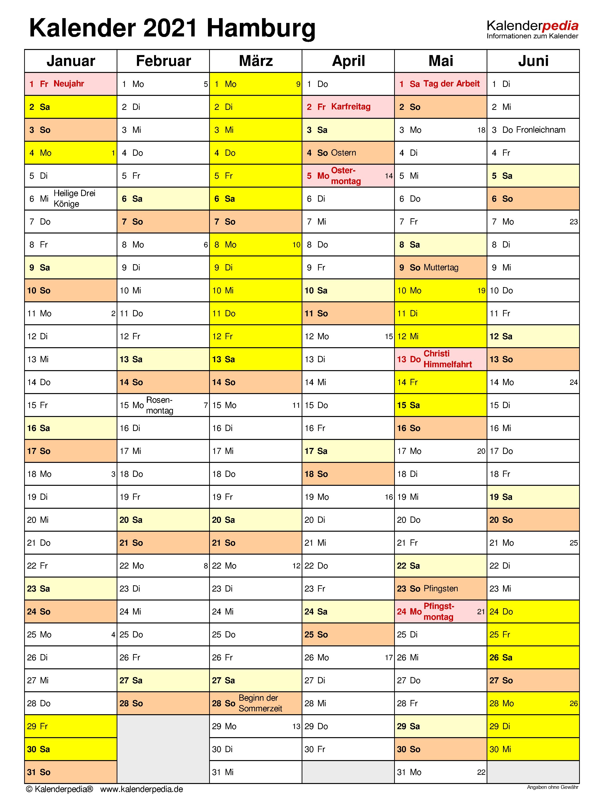 Kalender Hamburg 2021