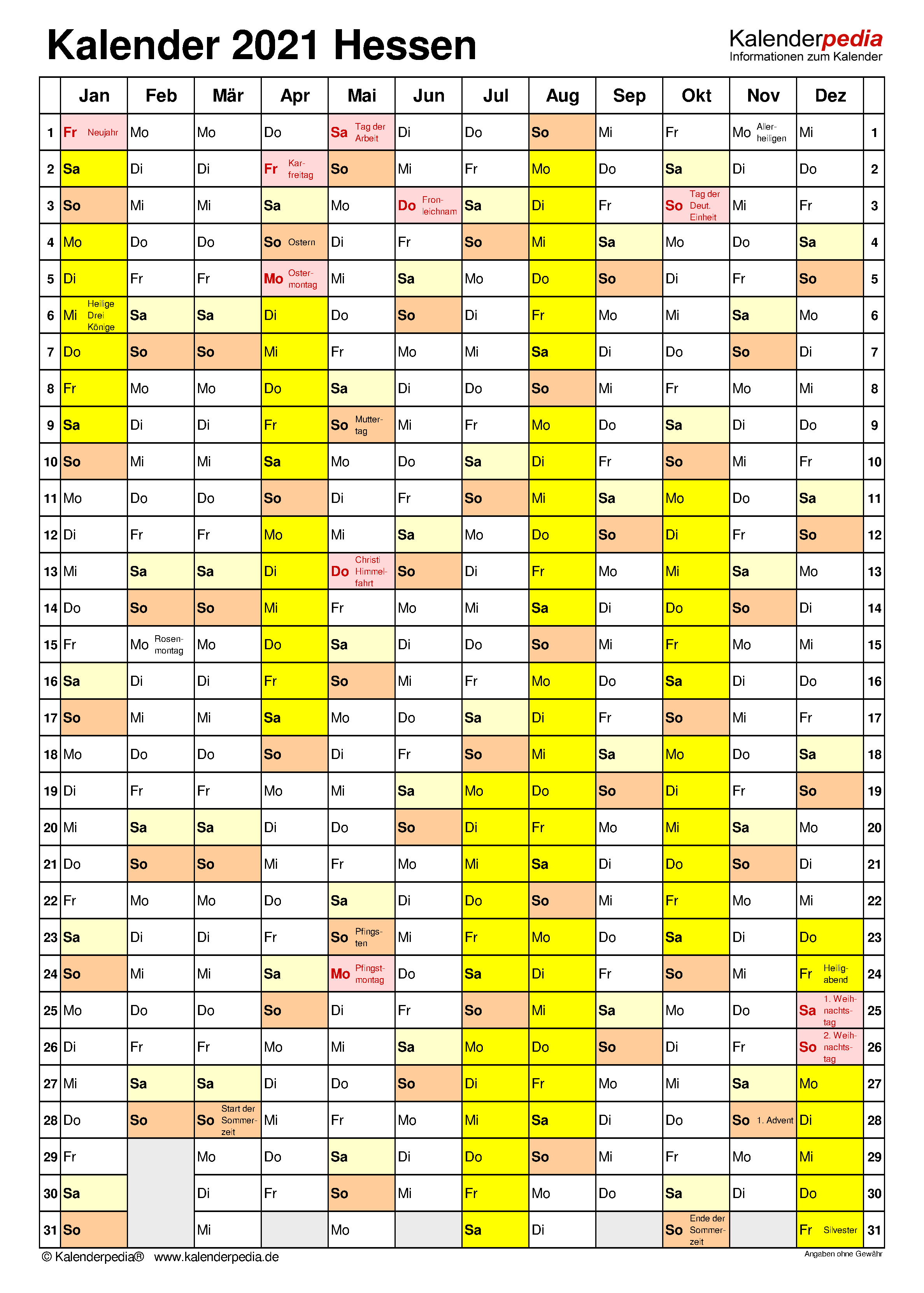 Kalender 2021 Hessen: Ferien, Feiertage, Word-Vorlagen