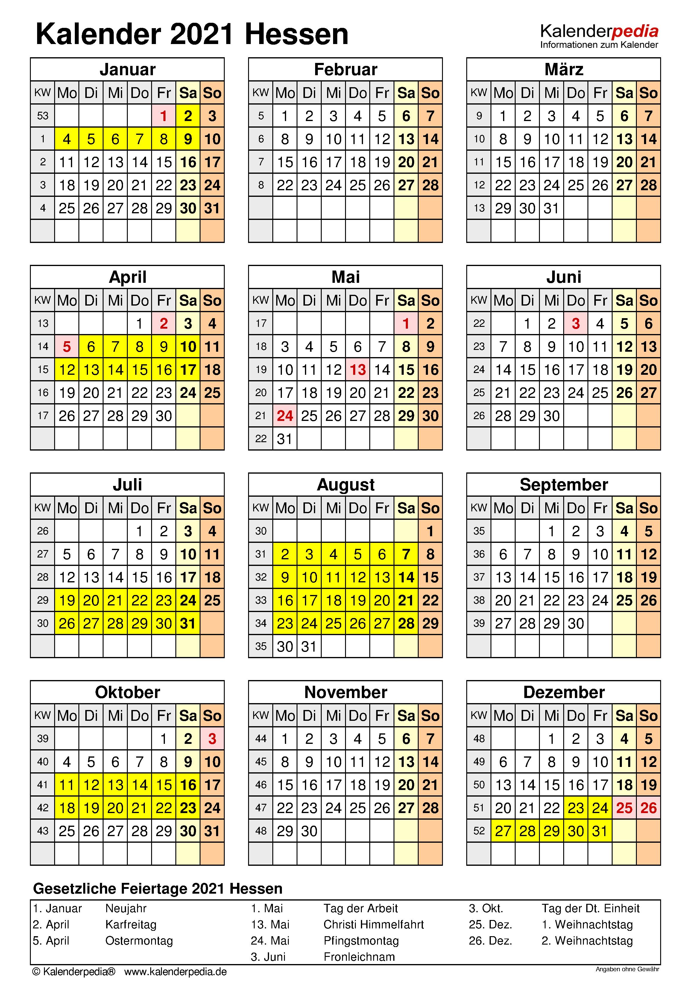 Kalender 2021 Hessen: Ferien, Feiertage, Excel-Vorlagen