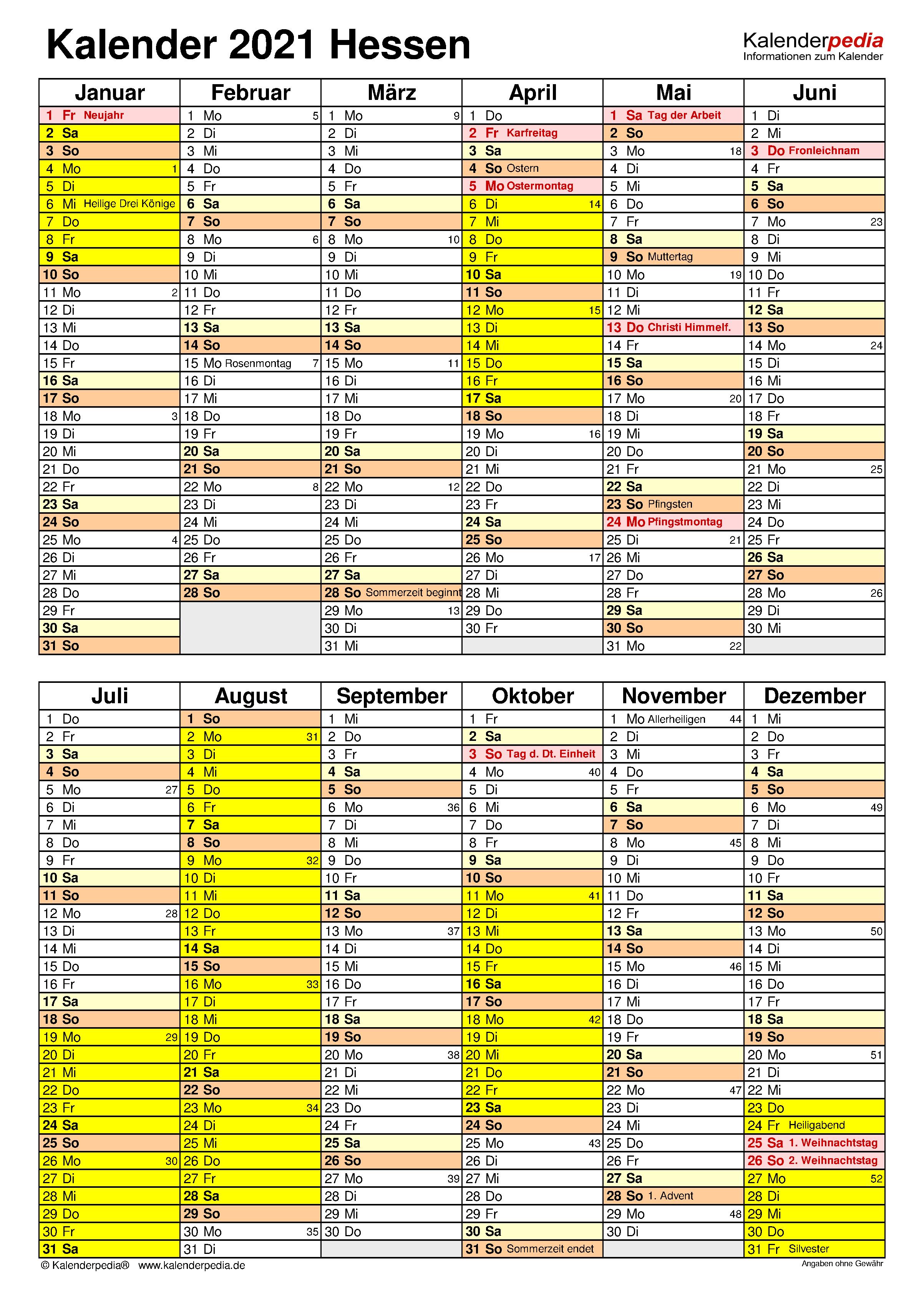 Hessen Kalender 2021