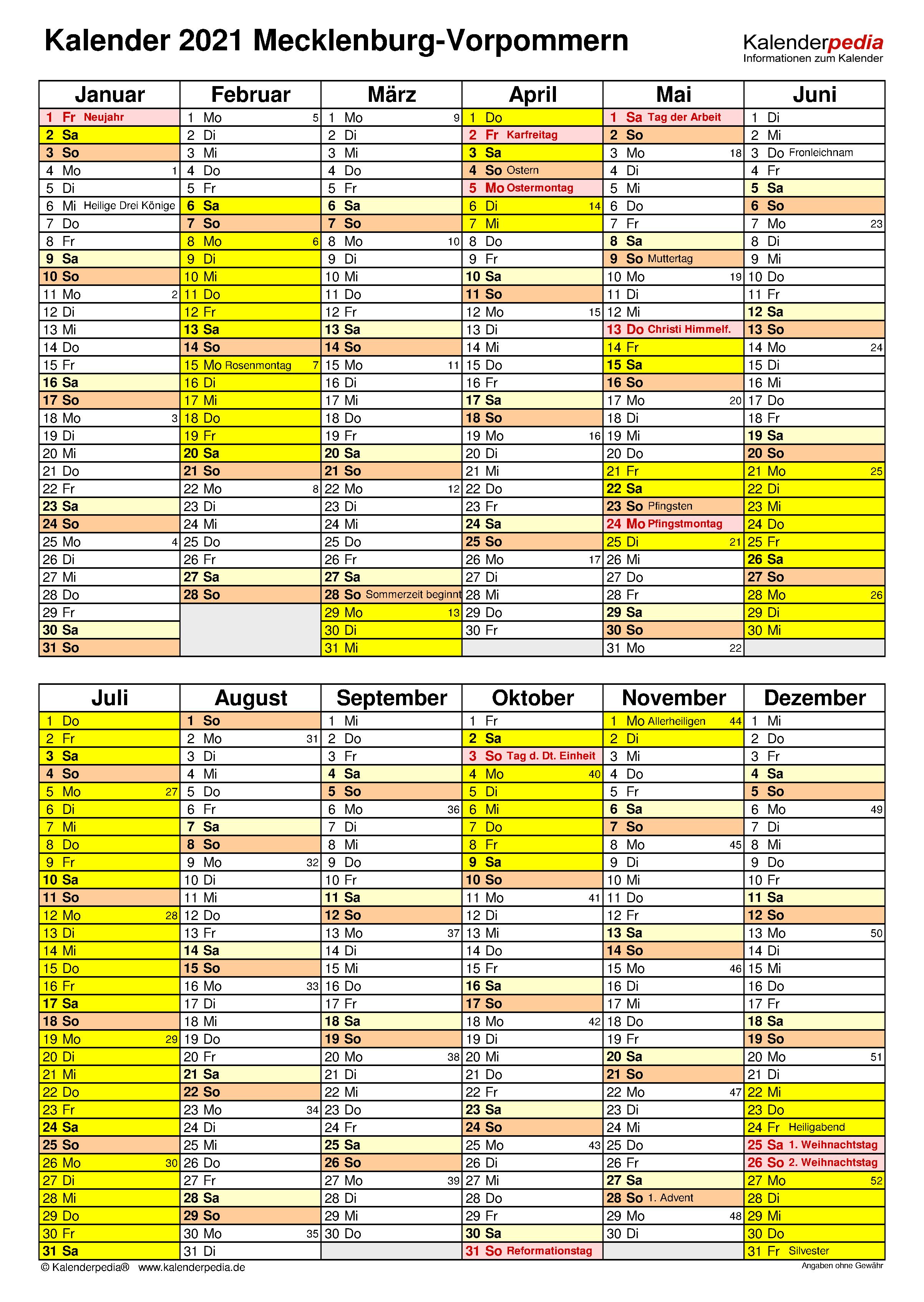 Kalender 2021 Mv