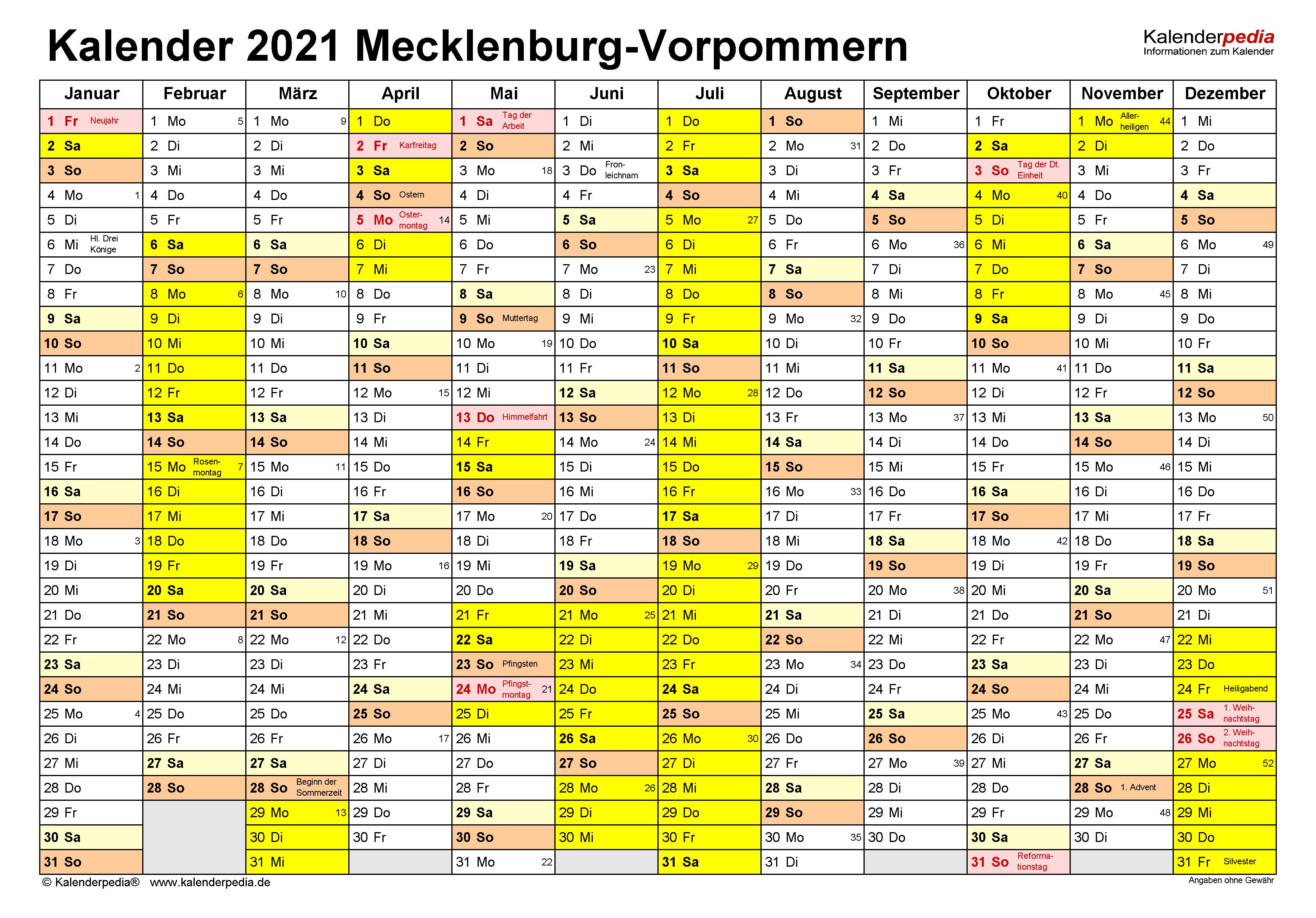 Kalender 2021 Mecklenburg-Vorpommern: Ferien, Feiertage ...