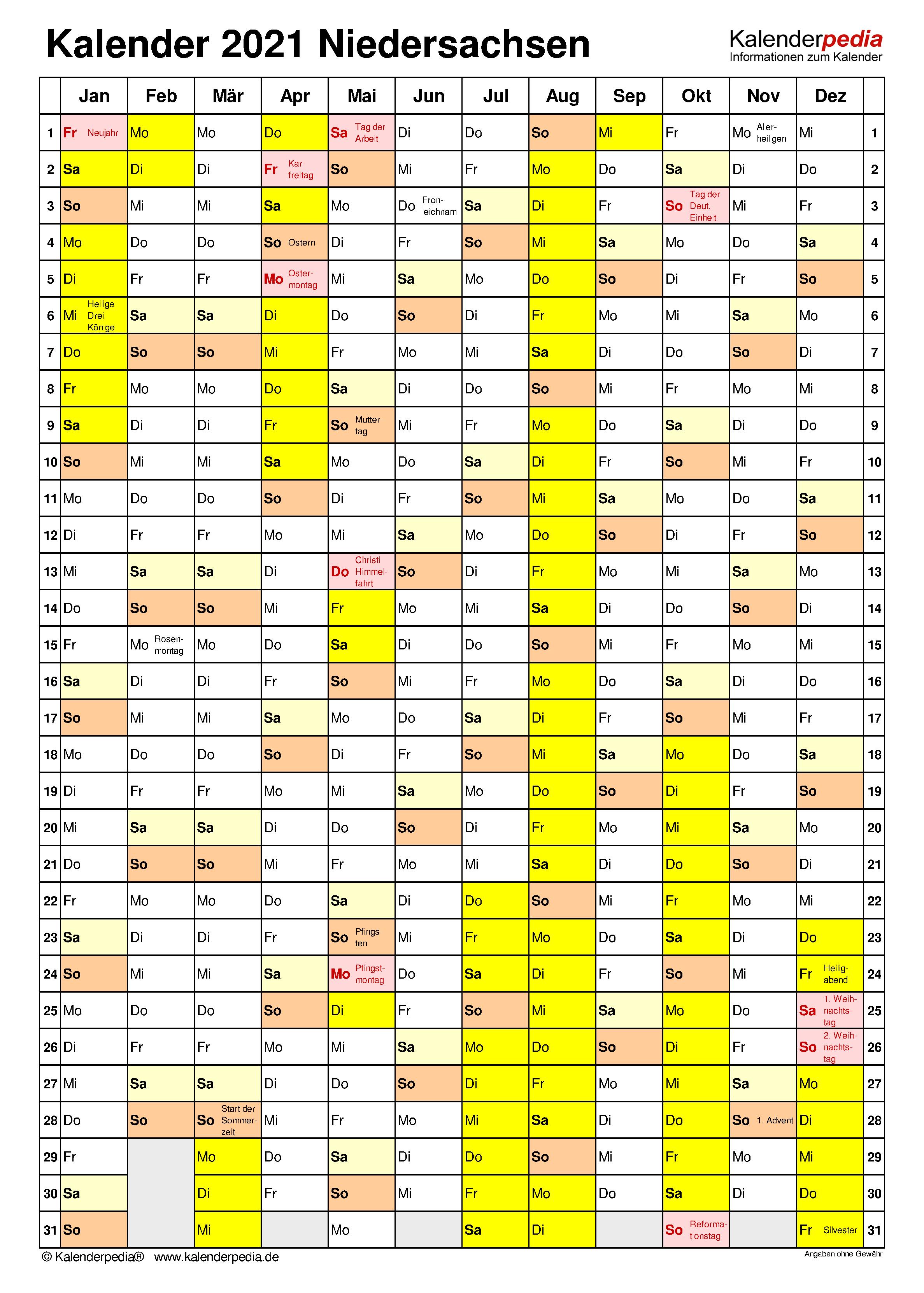 Kalender 2021 Niedersachsen: Ferien, Feiertage, PDF-Vorlagen