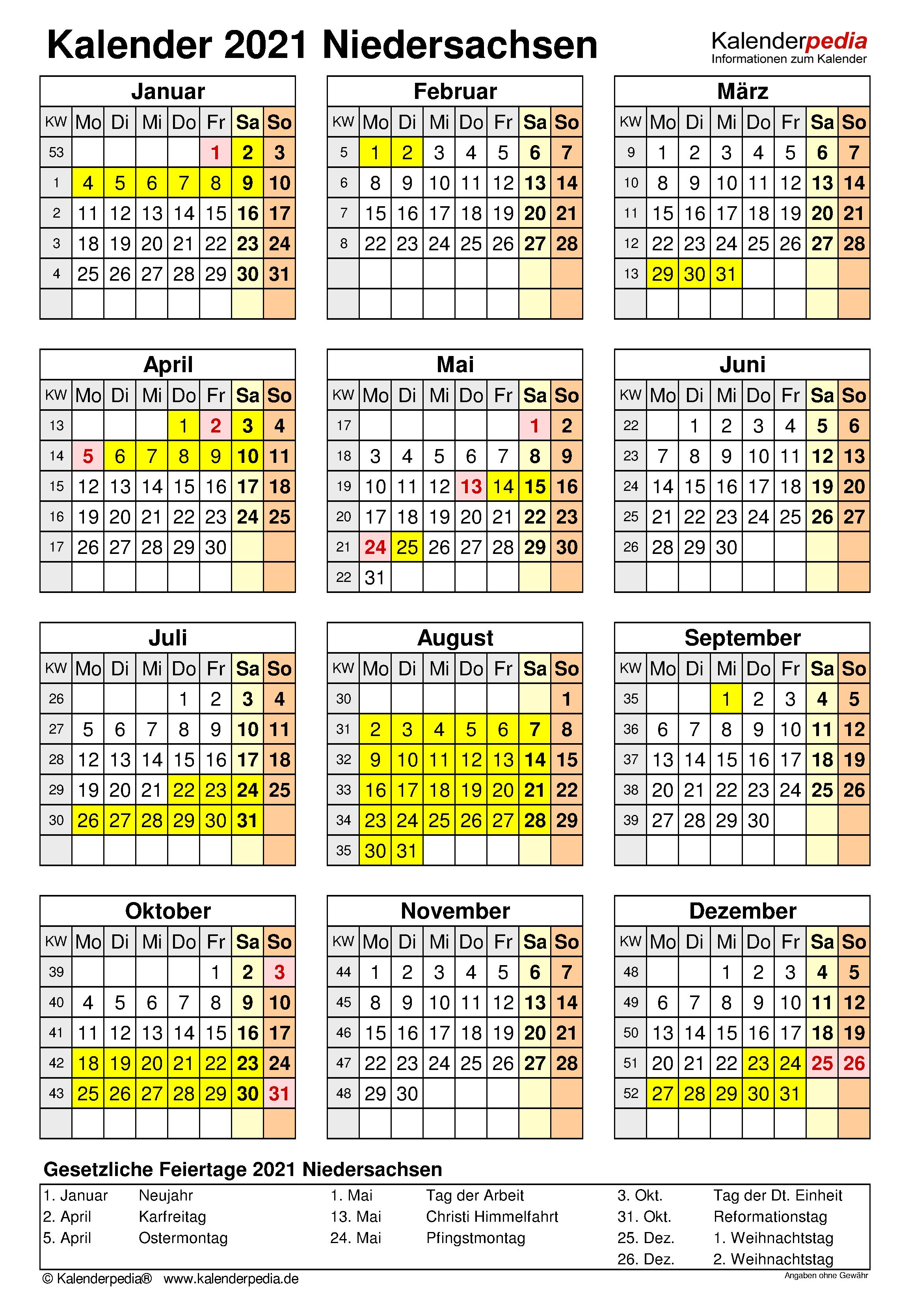 Feiertage Niedersachsen 2021