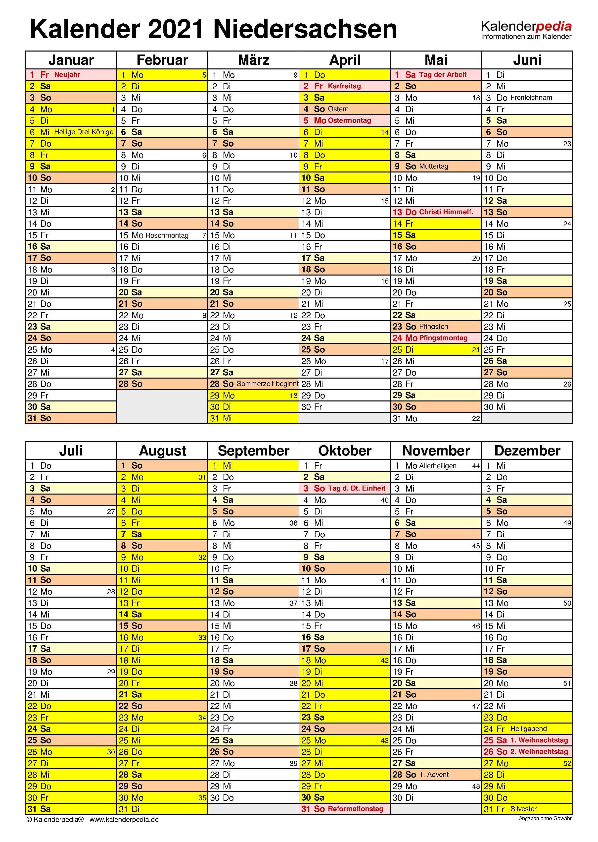 Kalender 2021 Niedersachsen: Ferien, Feiertage, Word-Vorlagen