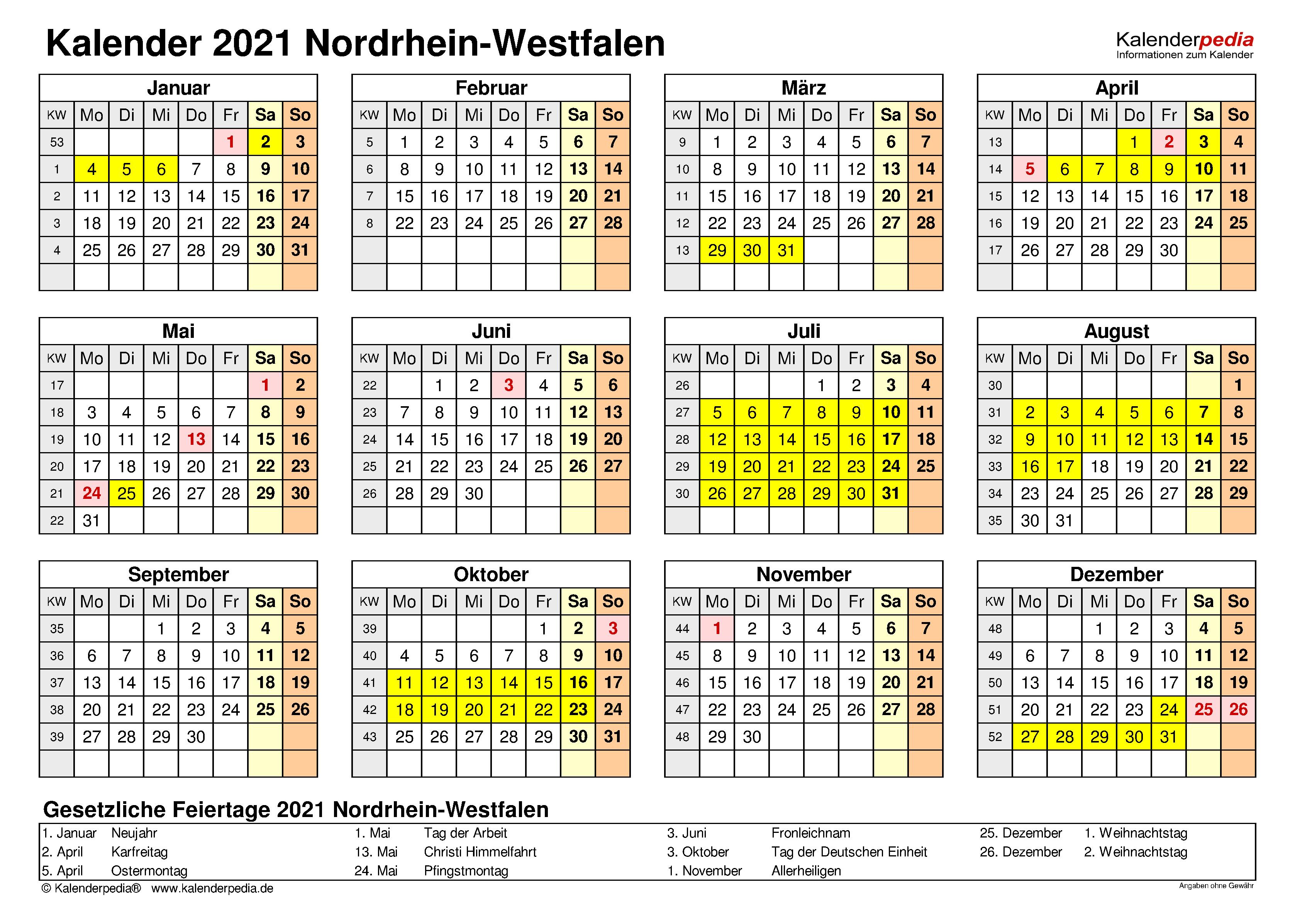 Kalender 2021 NRW: Ferien, Feiertage, Word-Vorlagen
