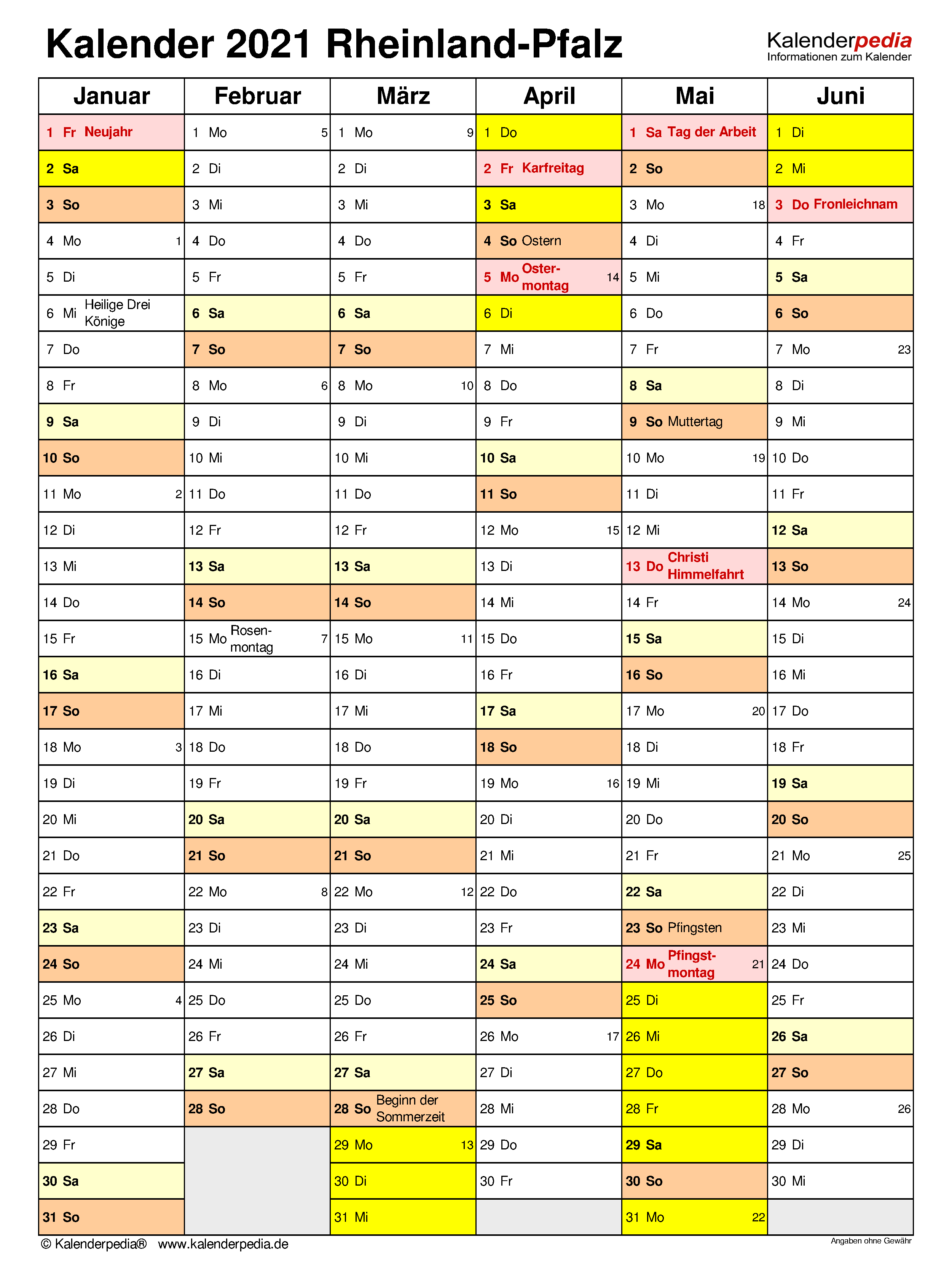Kalender 2021 Rheinland-Pfalz: Ferien, Feiertage, PDF-Vorlagen
