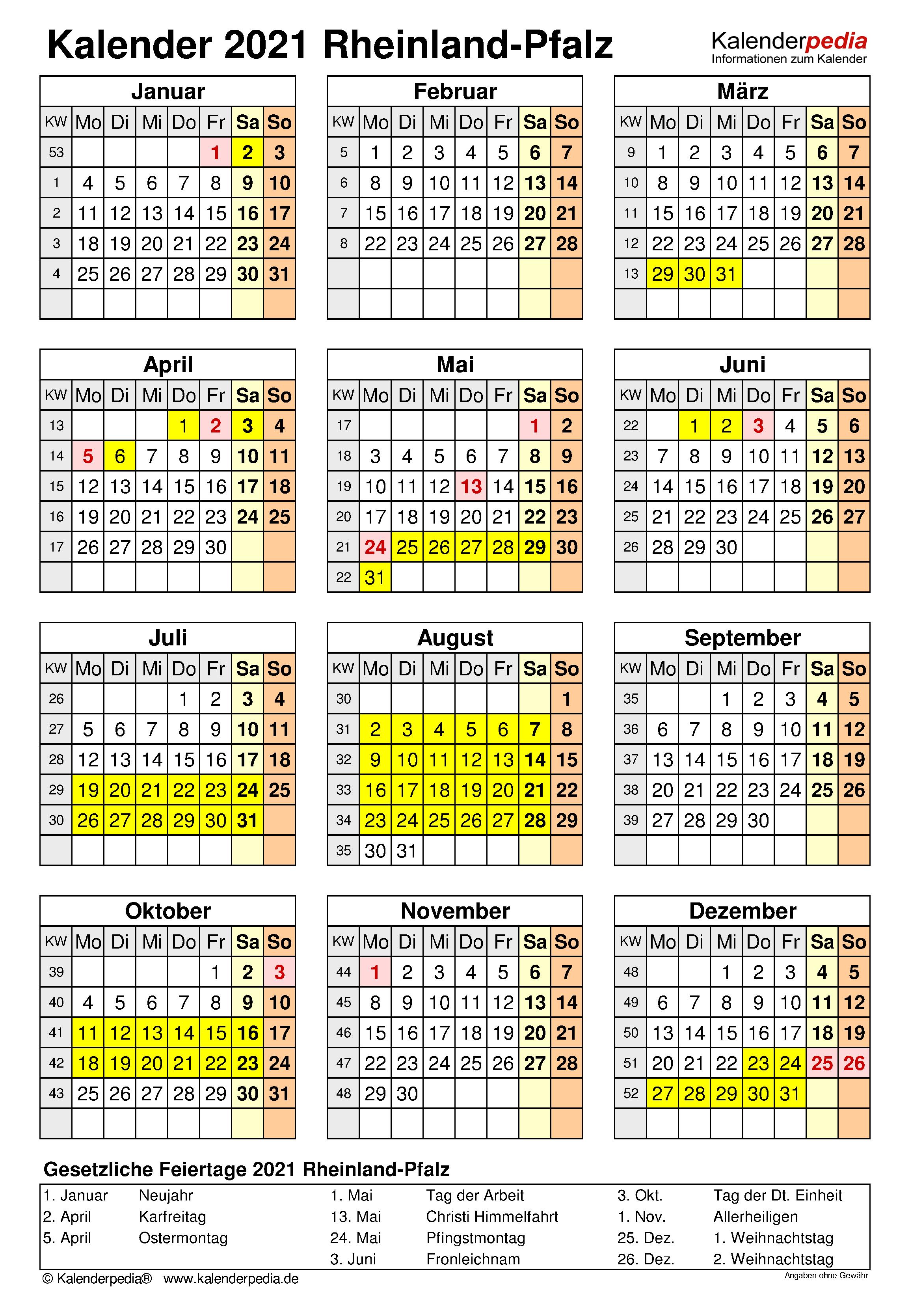 Kalender 2021 Rheinland-Pfalz: Ferien, Feiertage, Excel ...