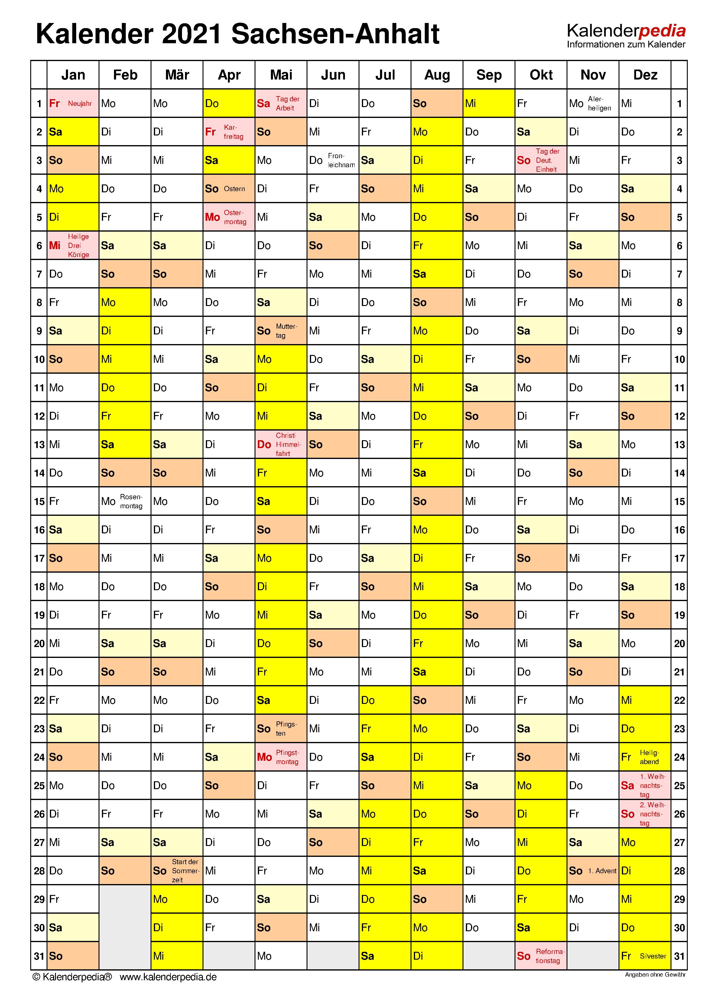 Kalender 2021 Sachsen-Anhalt: Ferien, Feiertage, Excel ...