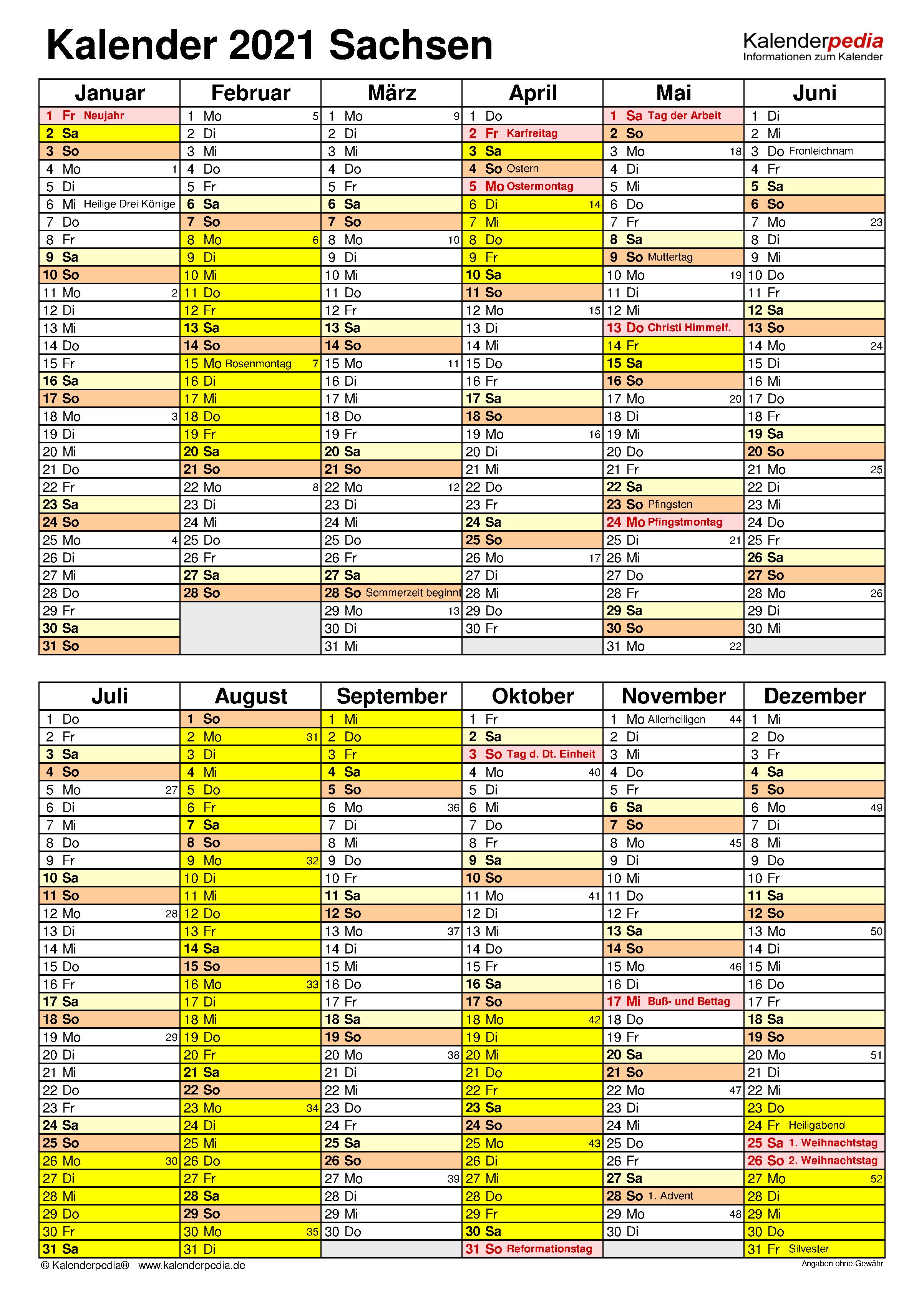 Kalender 2021 Sachsen: Ferien, Feiertage, PDF-Vorlagen