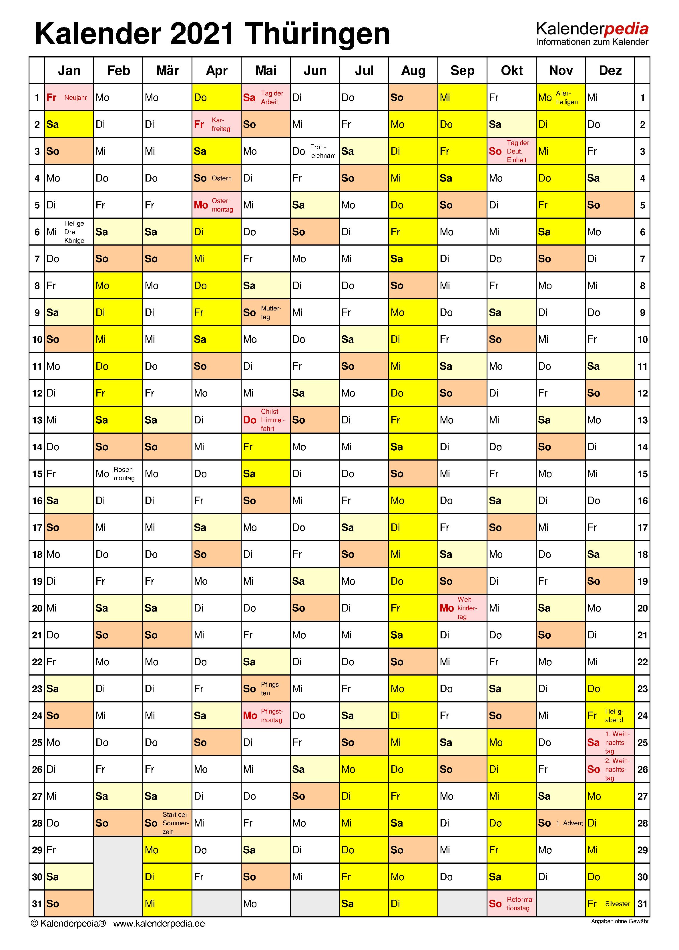 Kalender 2021 Thüringen Mit Ferien Und Feiertagen ...