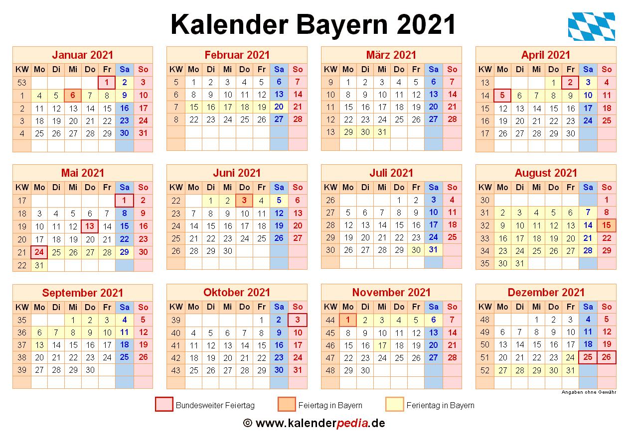 Kalender 2021 Bayern: Ferien, Feiertage, PDF-Vorlagen