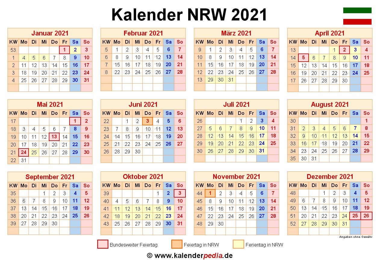 Kalender 2021 NRW: Ferien, Feiertage, PDF-Vorlagen