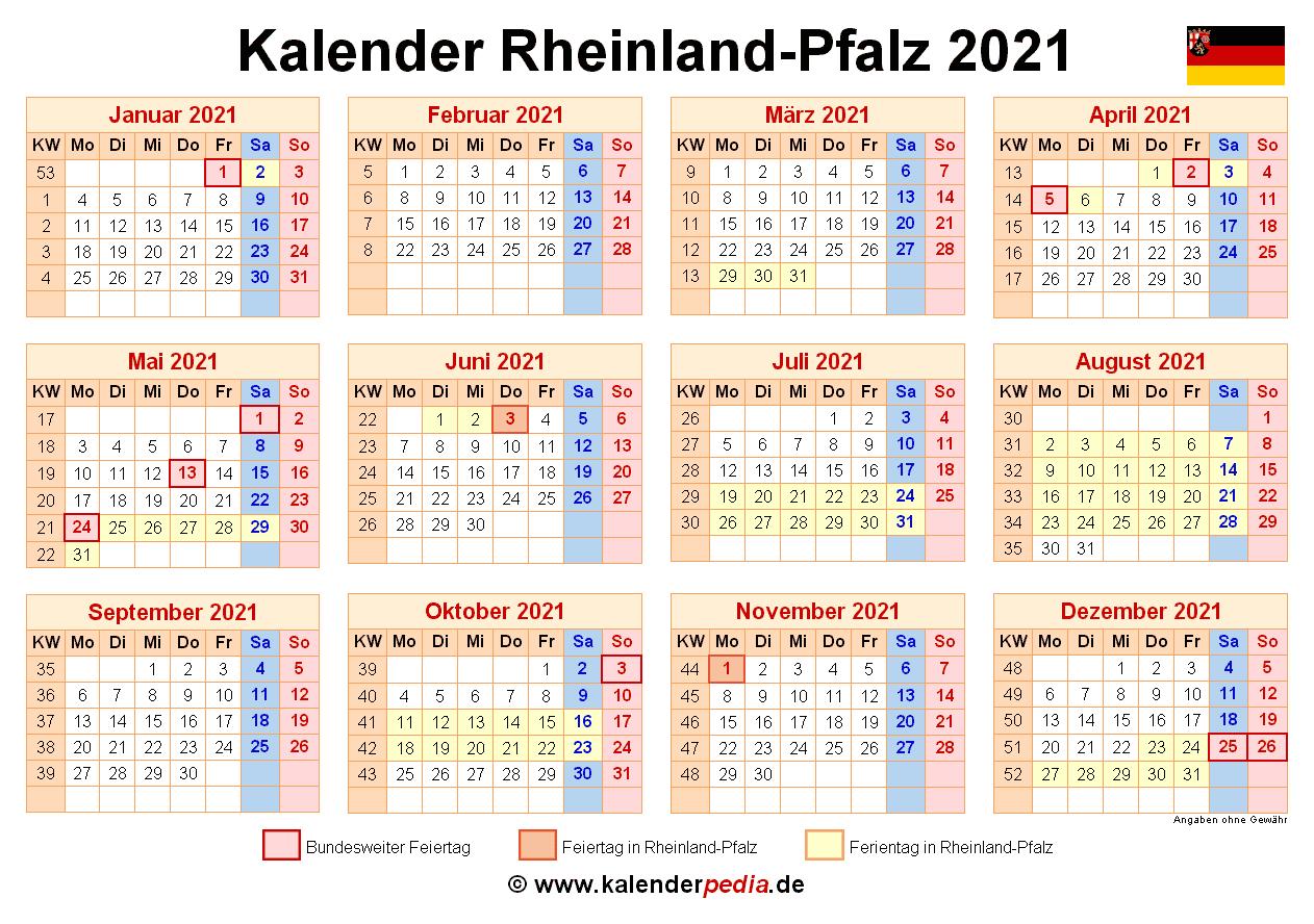 Kalender 2021 Rheinland Pfalz