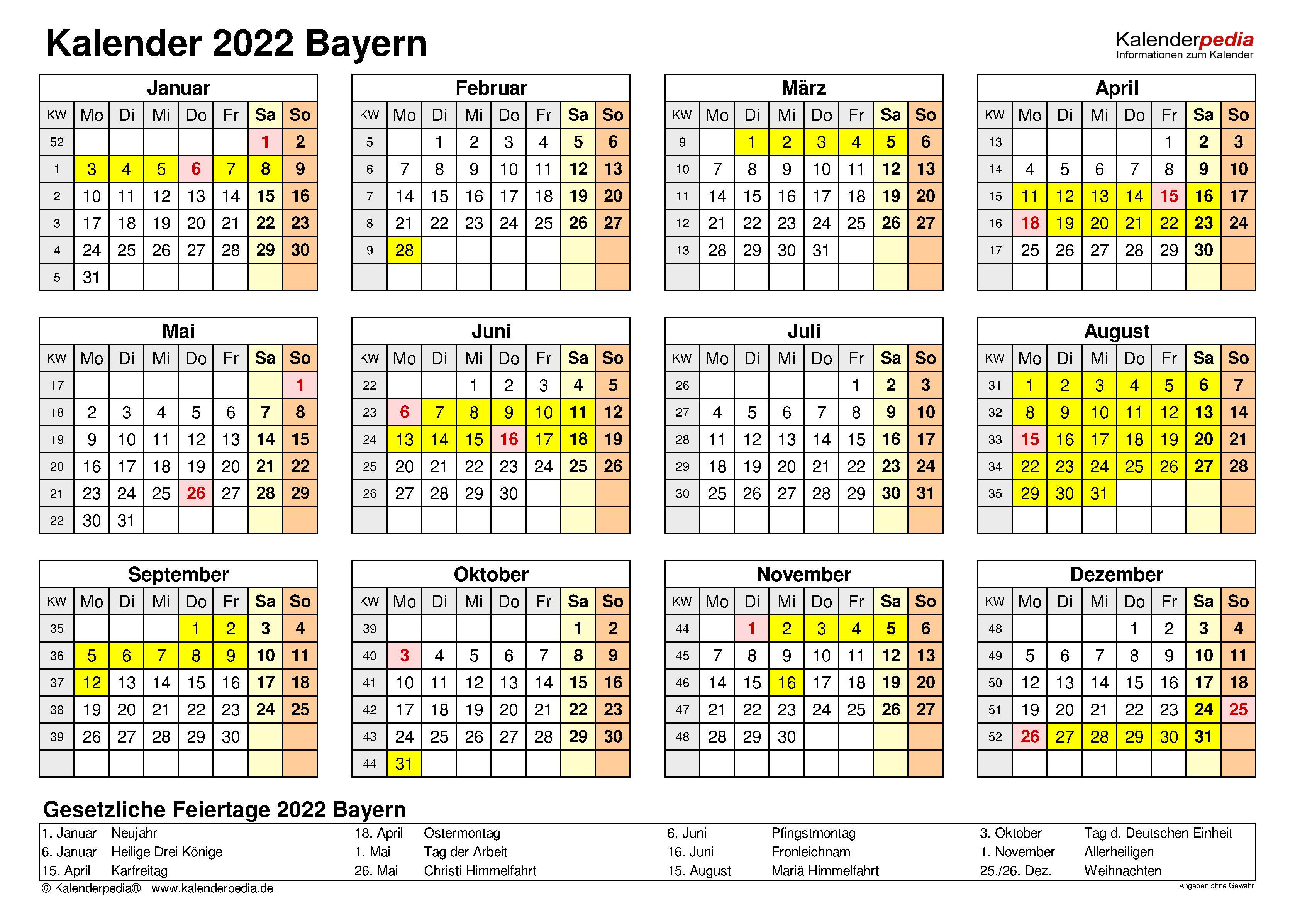 Kalender 2022 Bayern: Ferien, Feiertage, Excel-Vorlagen