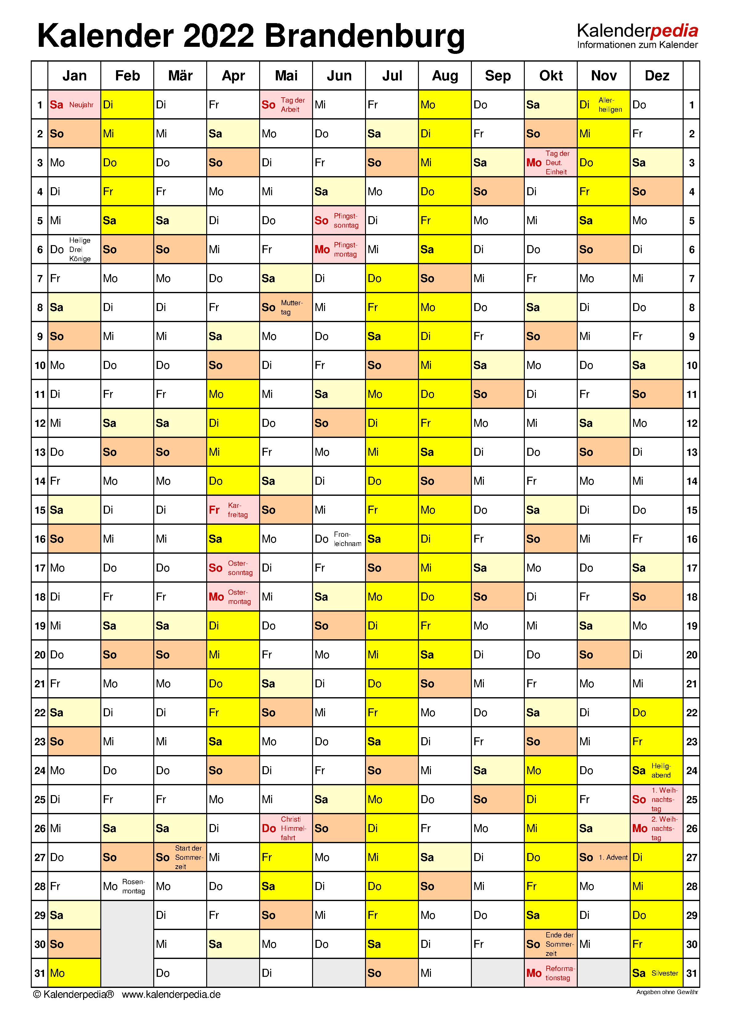 Kalender 2022 Brandenburg: Ferien, Feiertage, PDF-Vorlagen