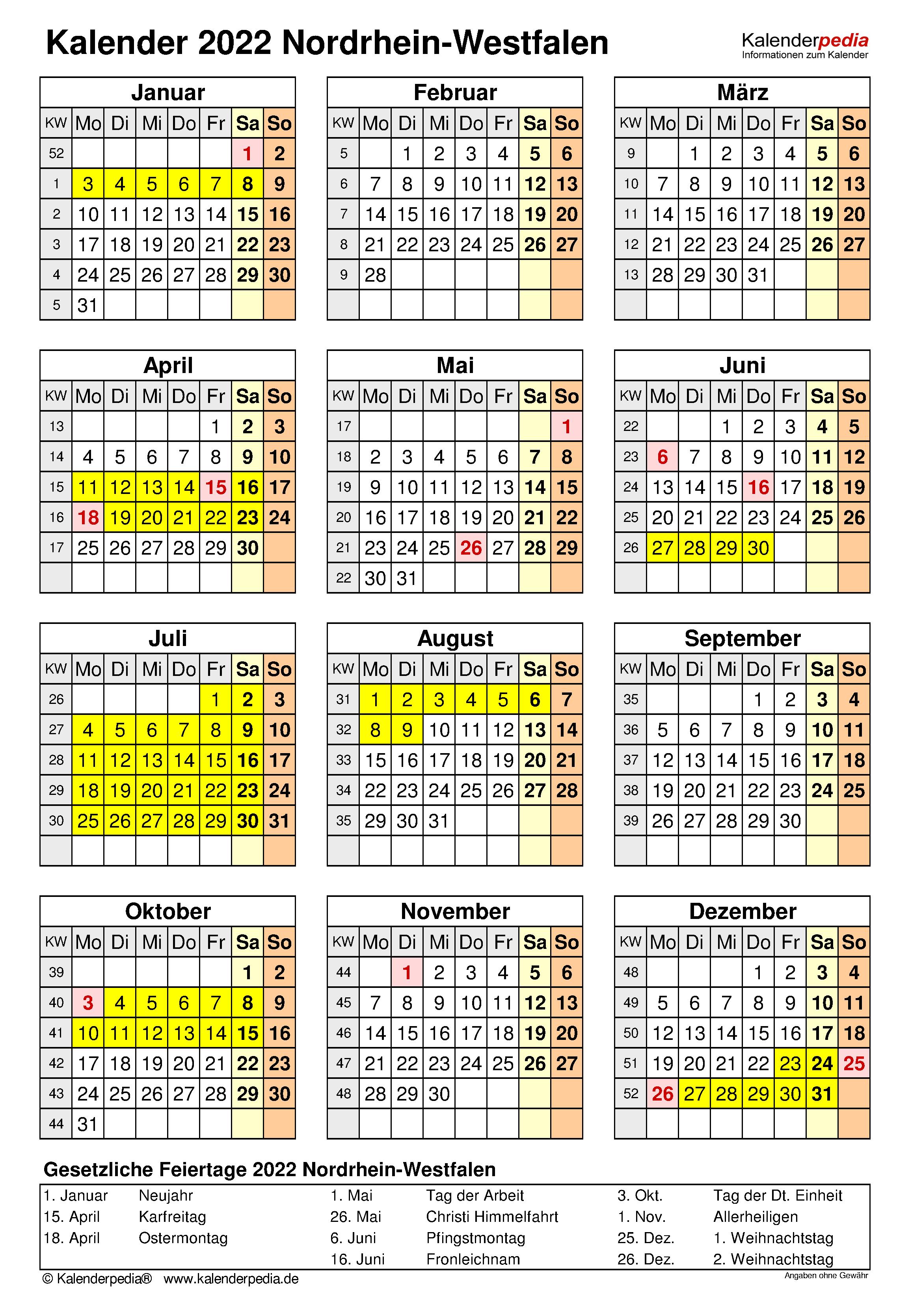 Kalender 2022 NRW: Ferien, Feiertage, Word-Vorlagen