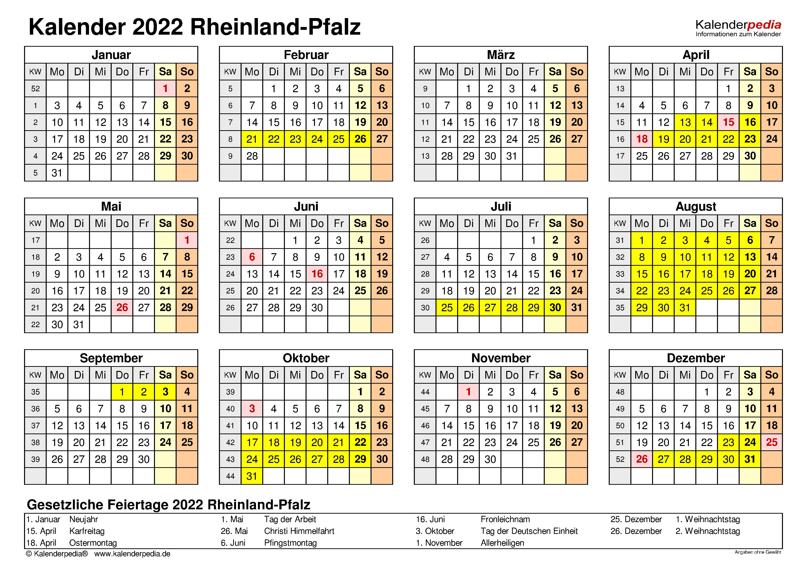 Kalender 2022 Rheinland-Pfalz: Ferien, Feiertage, Excel ...