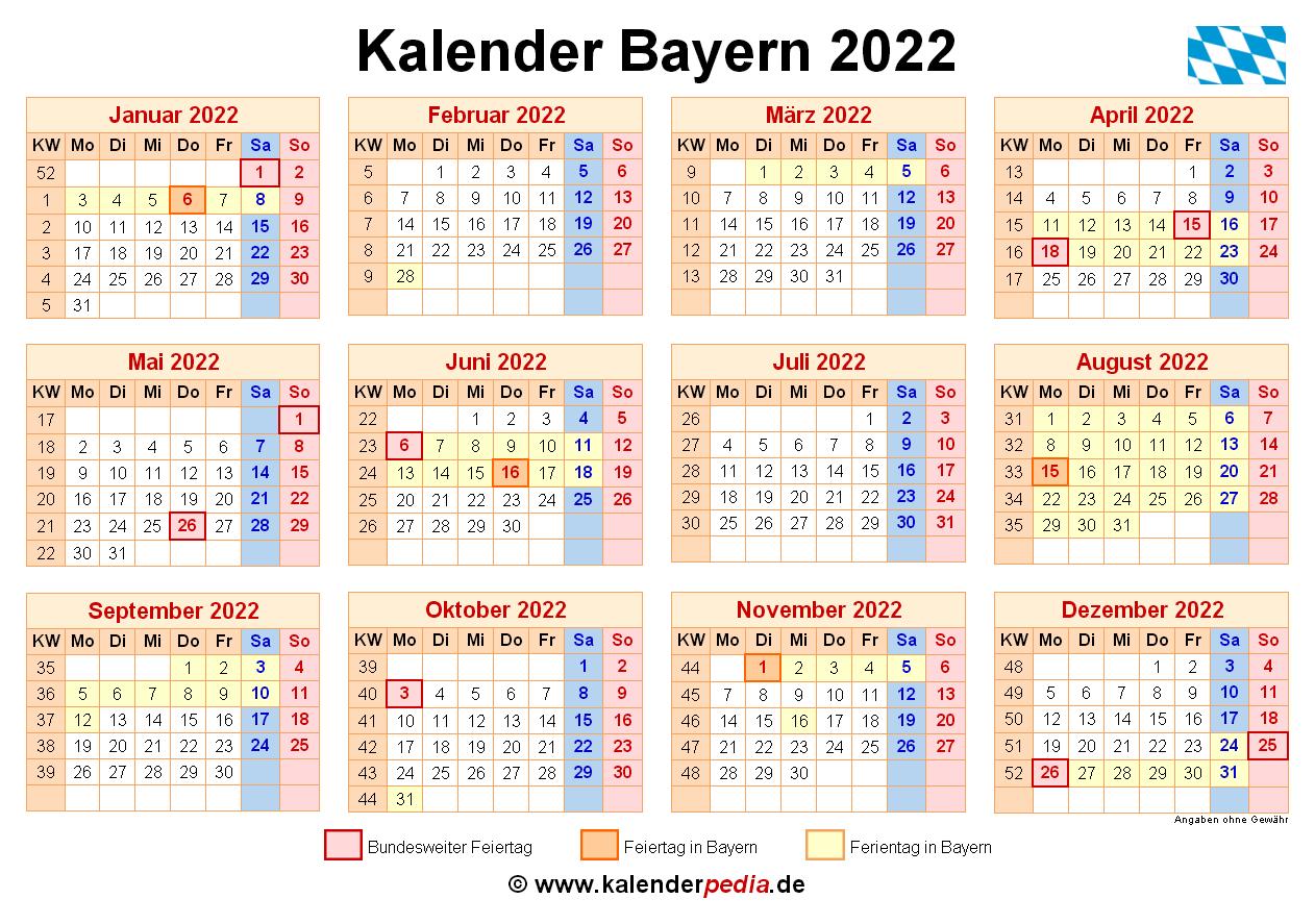 Kalender 2022 Bayern - Kalender bayern 2022 passend auf ...